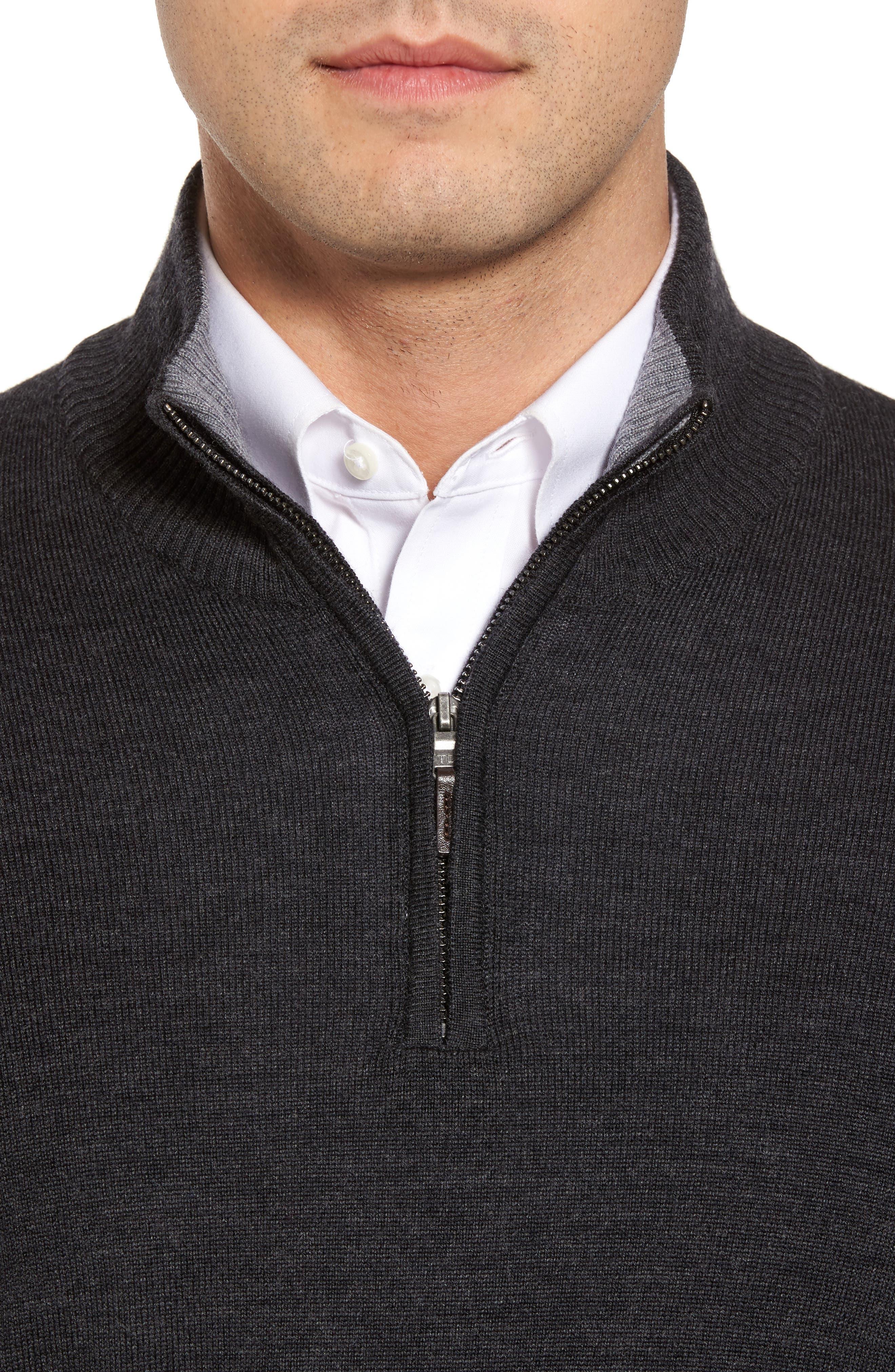 THOMAS DEAN,                             Merino Wool Blend Quarter Zip Sweater,                             Alternate thumbnail 4, color,                             020