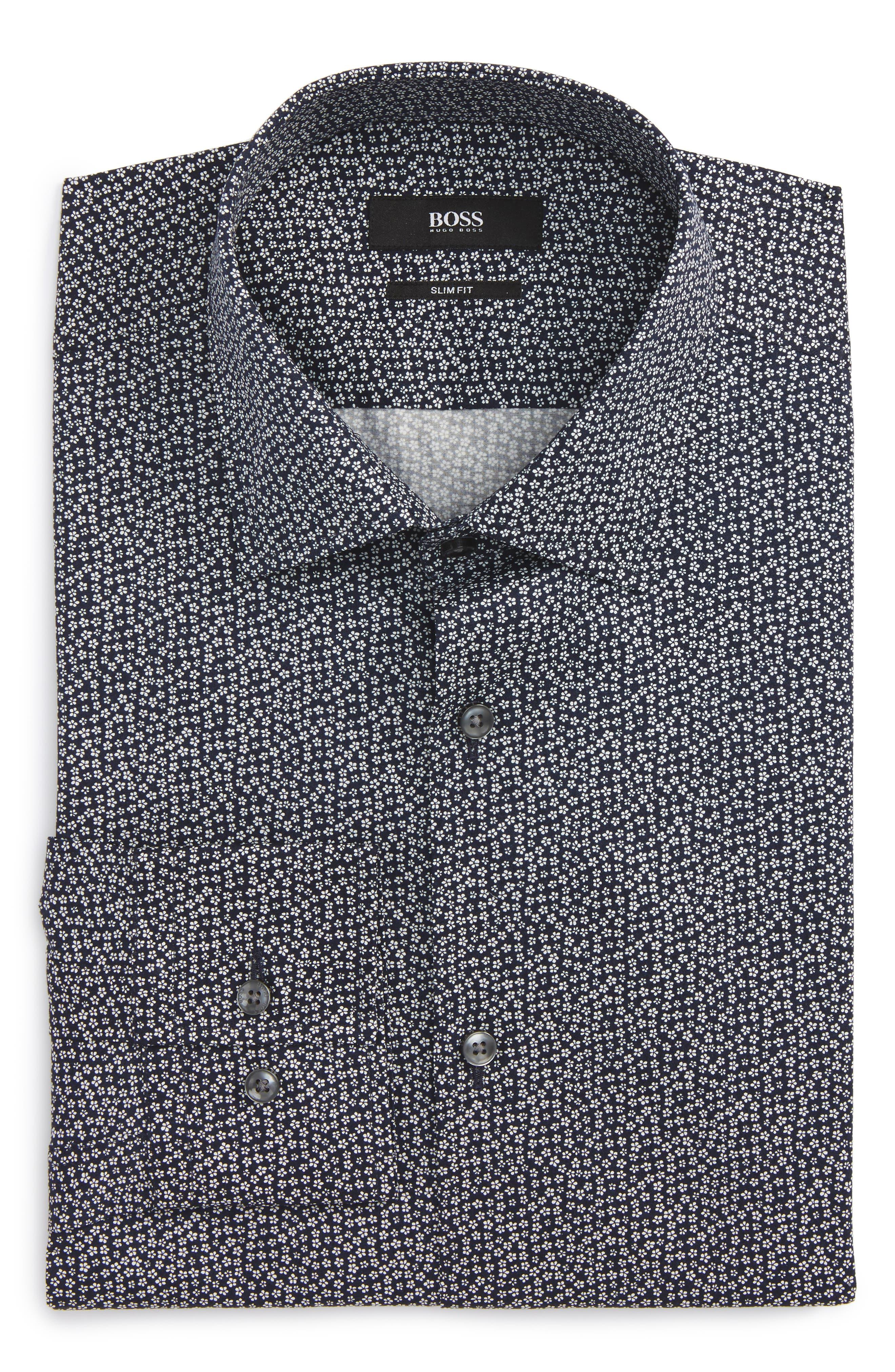 Slim Fit Floral Dress Shirt,                             Main thumbnail 1, color,                             410