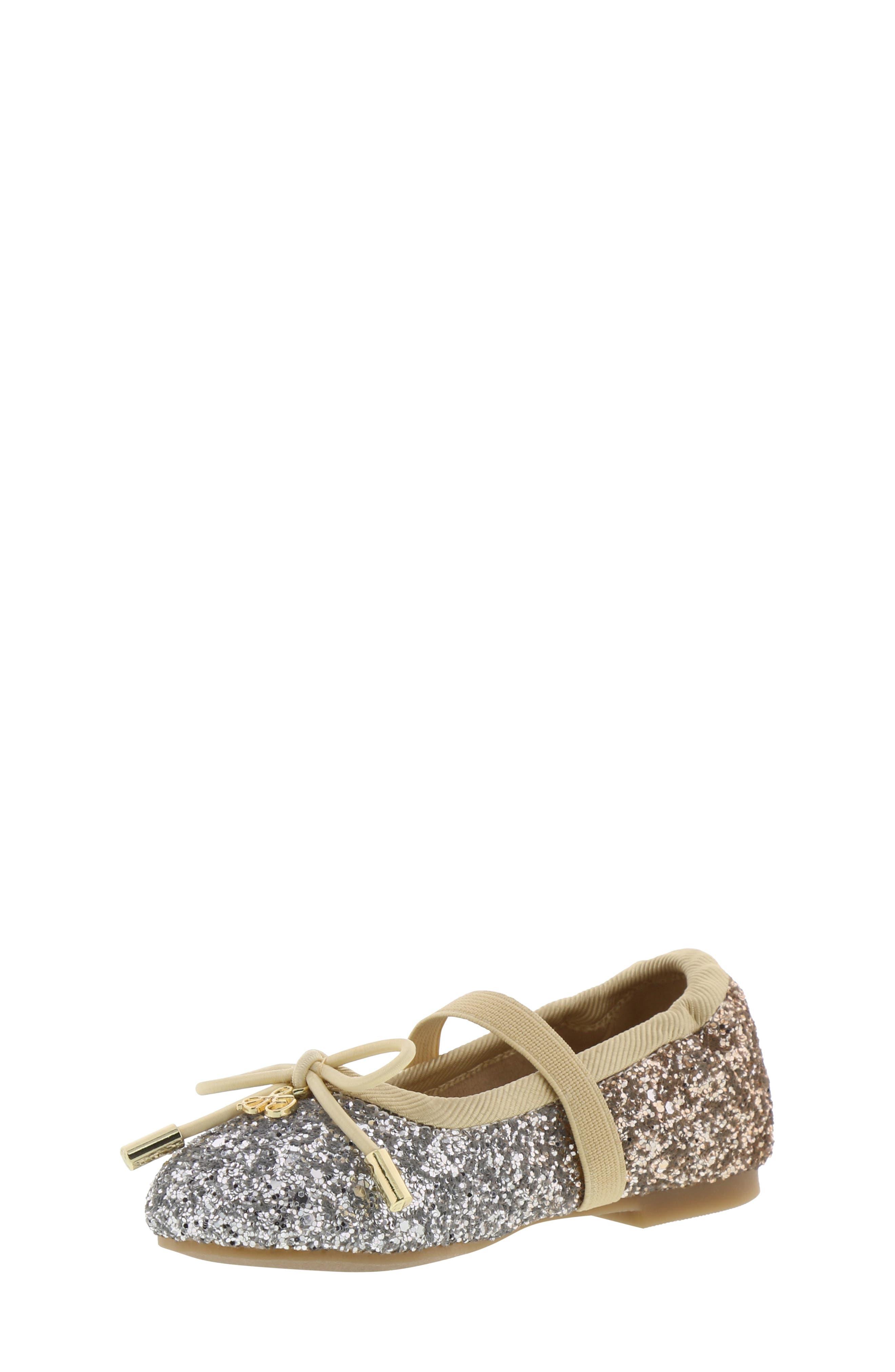 Felicia Ombré Glitter Ballet Flat,                             Main thumbnail 1, color,                             SILVER GOLD