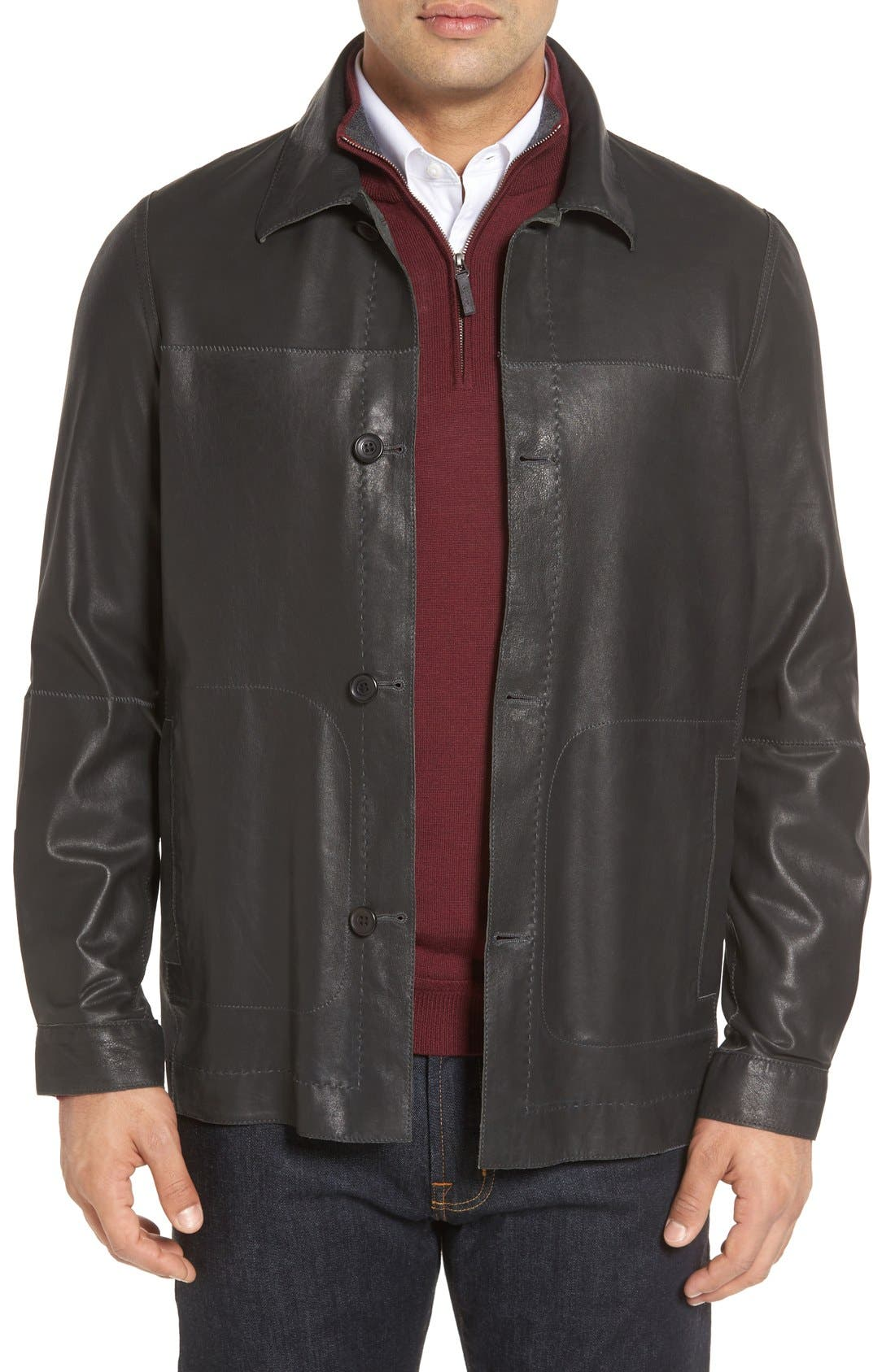 Vintage Lambskin Leather Reversible Jacket,                         Main,                         color, 001
