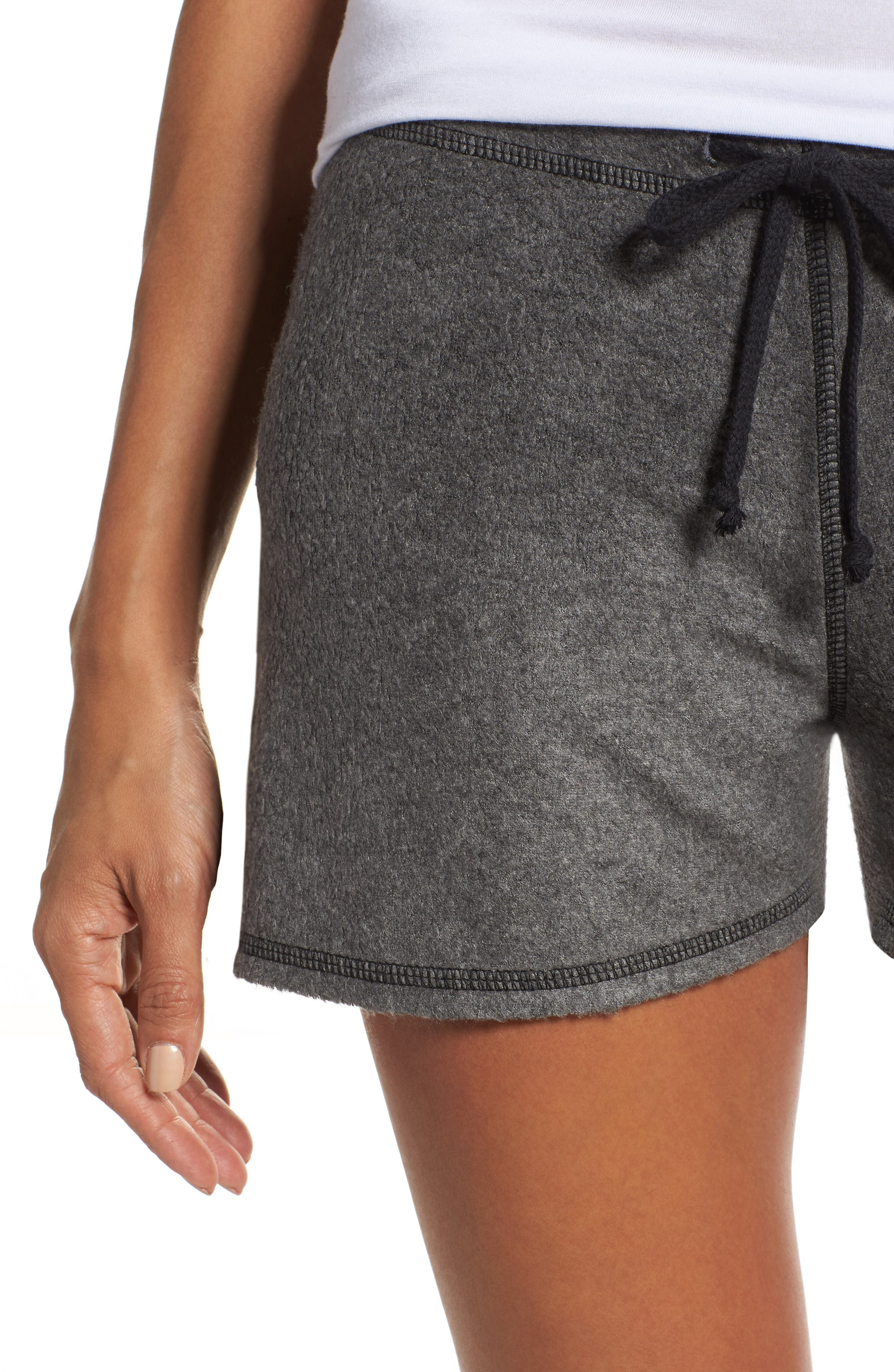 Traci Fleece Lounge Shorts,                             Alternate thumbnail 4, color,                             020