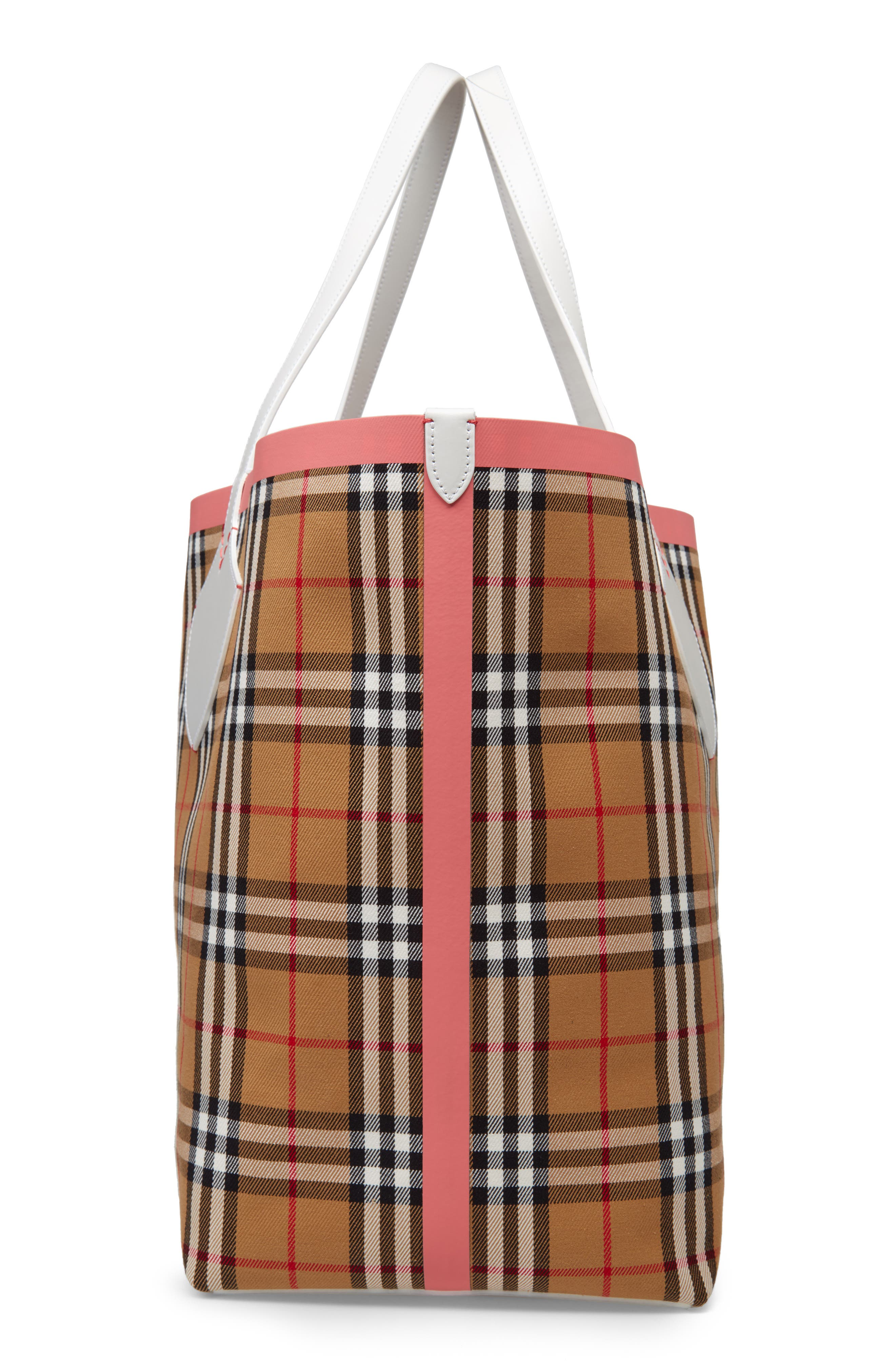 Giant Check Reversible Tote,                             Alternate thumbnail 6, color,                             BEIGE/ PINK/ CHALK WHITE