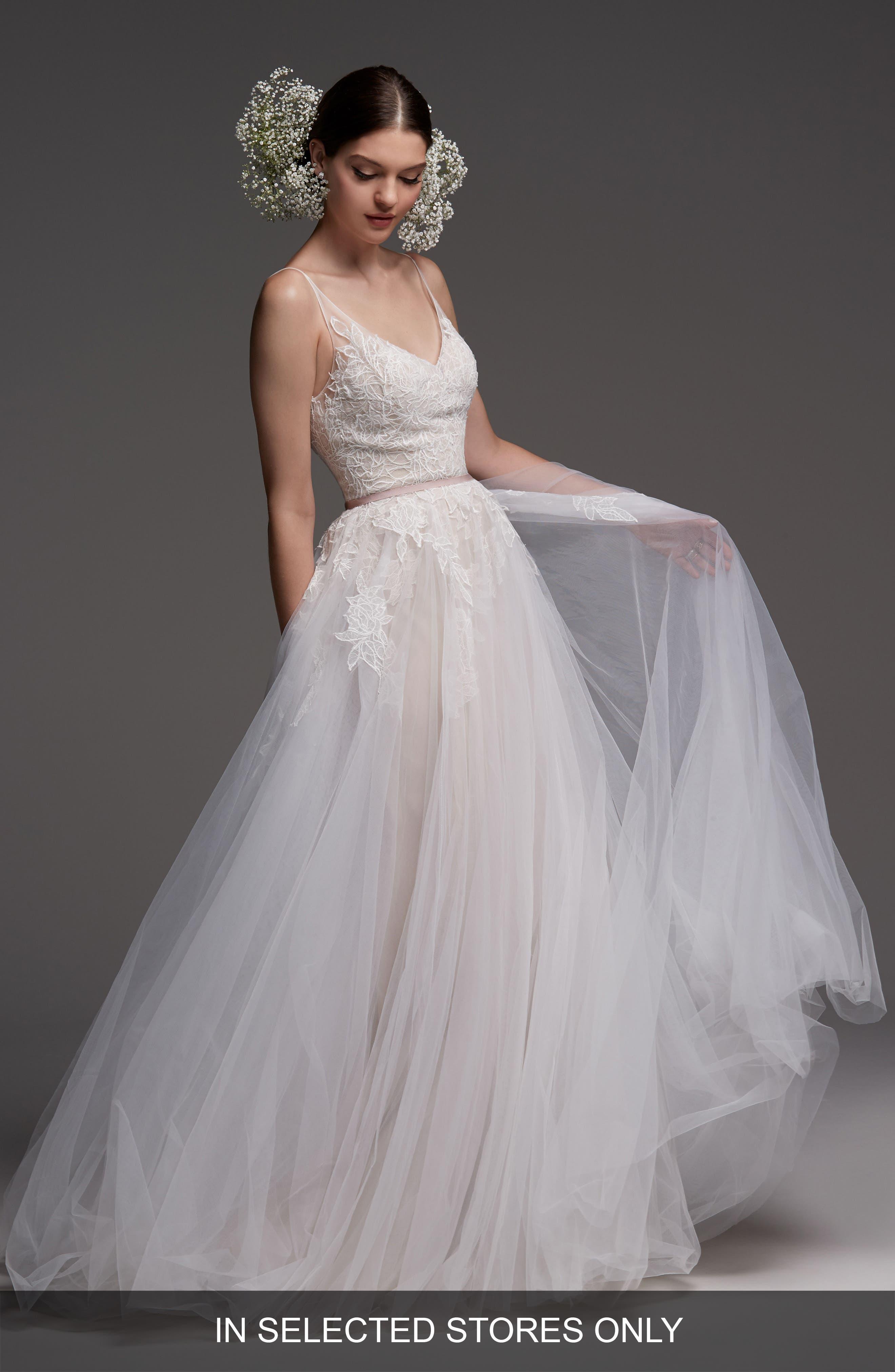 Avignon Lace & Tulle A-Line Gown,                             Main thumbnail 1, color,                             IVORY/ BLUSH/ ROSE QUARTZ