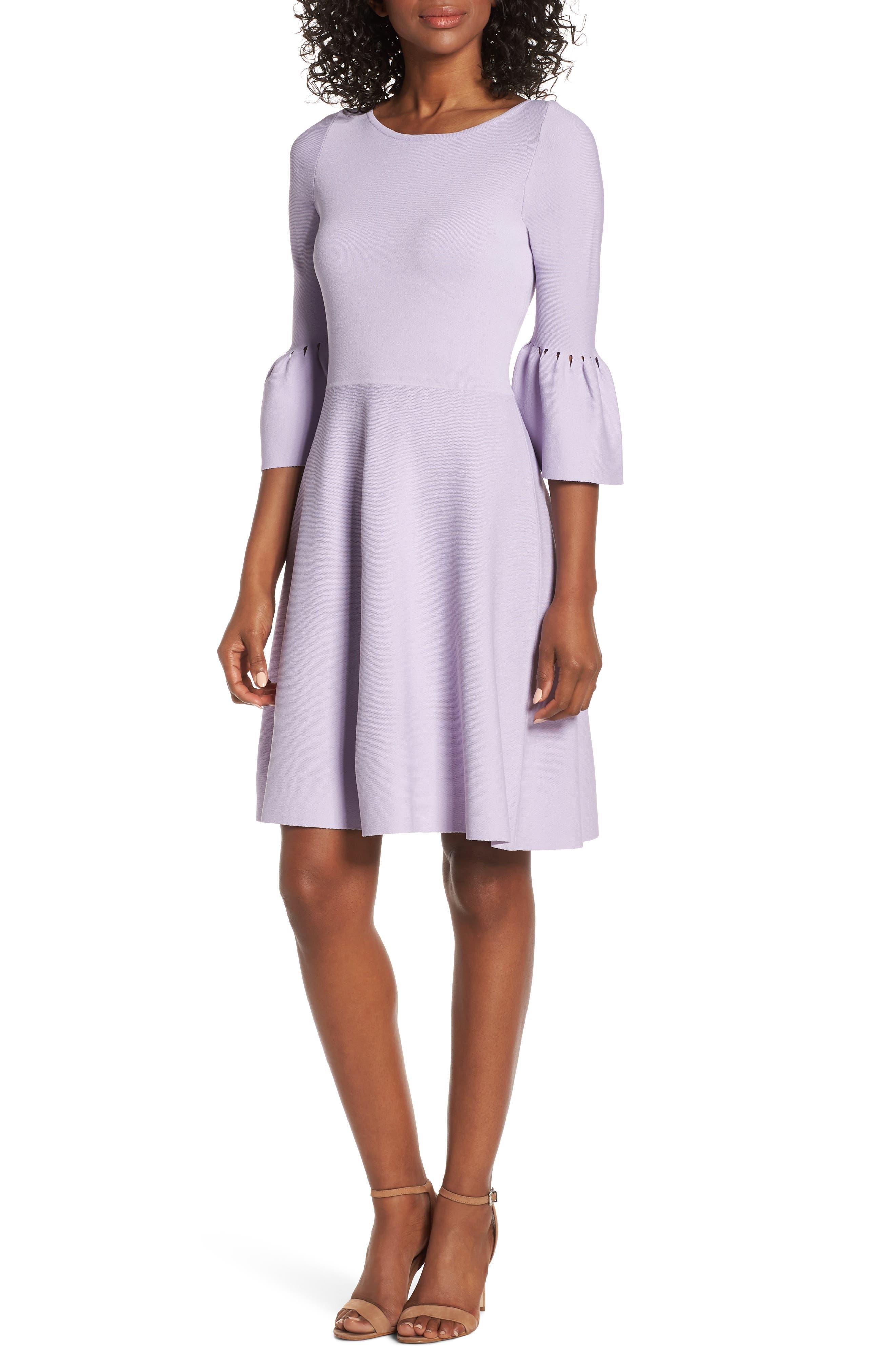 Eliza J Cutout Bell Sleeve Sweater Dress, Purple