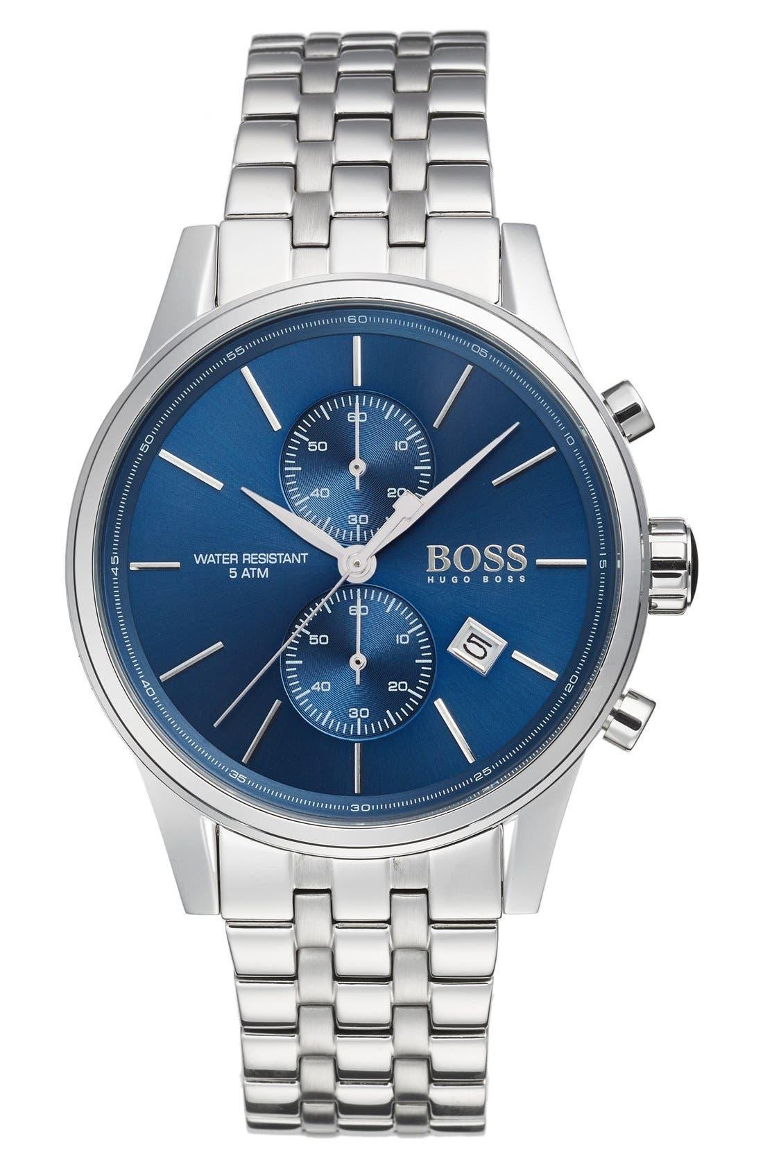 BOSS 'Jet' Chronograph Bracelet Watch, 41mm,                             Main thumbnail 1, color,                             BLUE/ SILVER
