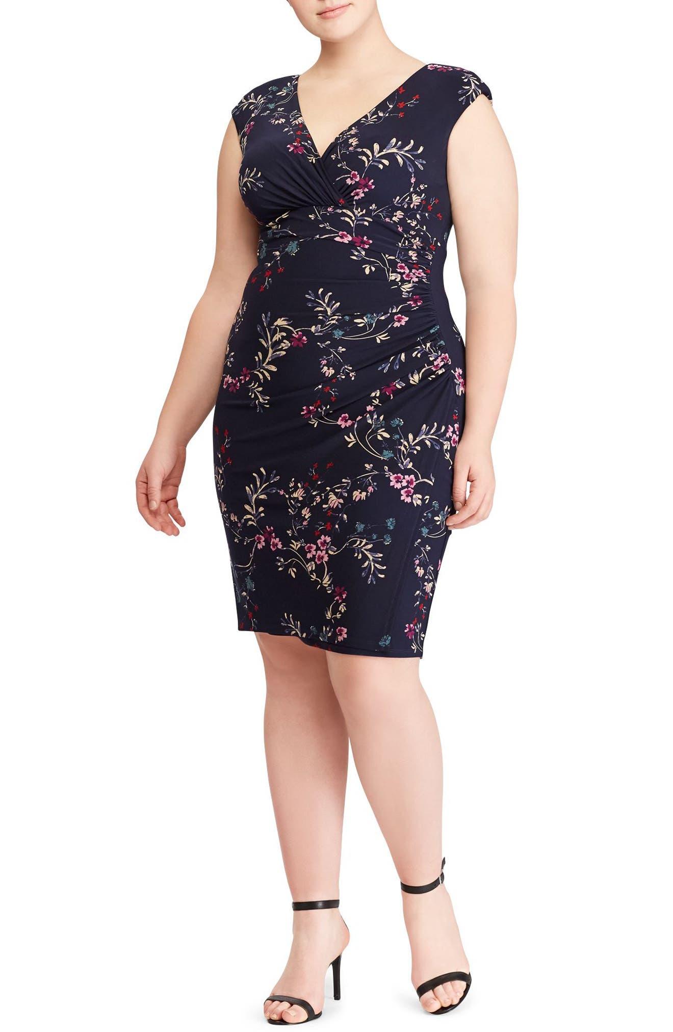 Adara Floral Jersey Dress,                             Main thumbnail 1, color,                             410