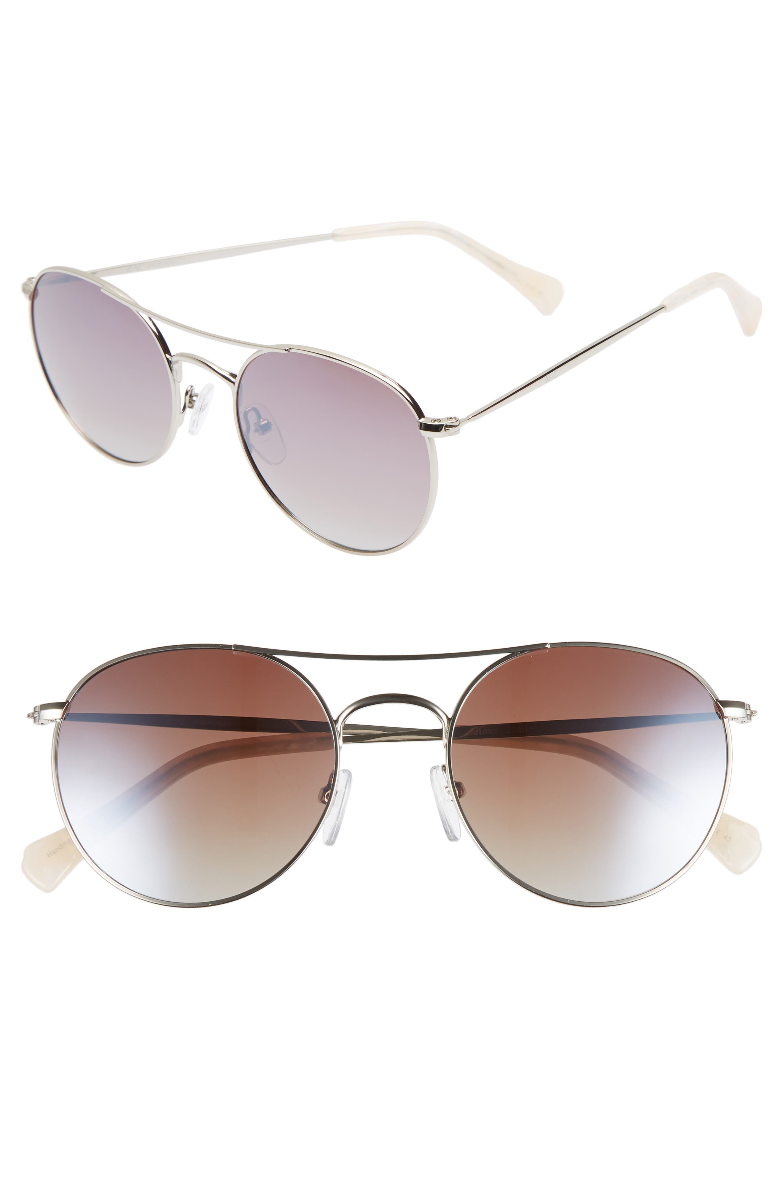 Juno 52mm Polarized Metal Aviator Sunglasses,                             Main thumbnail 1, color,                             SILVER POLAR/ BROWN