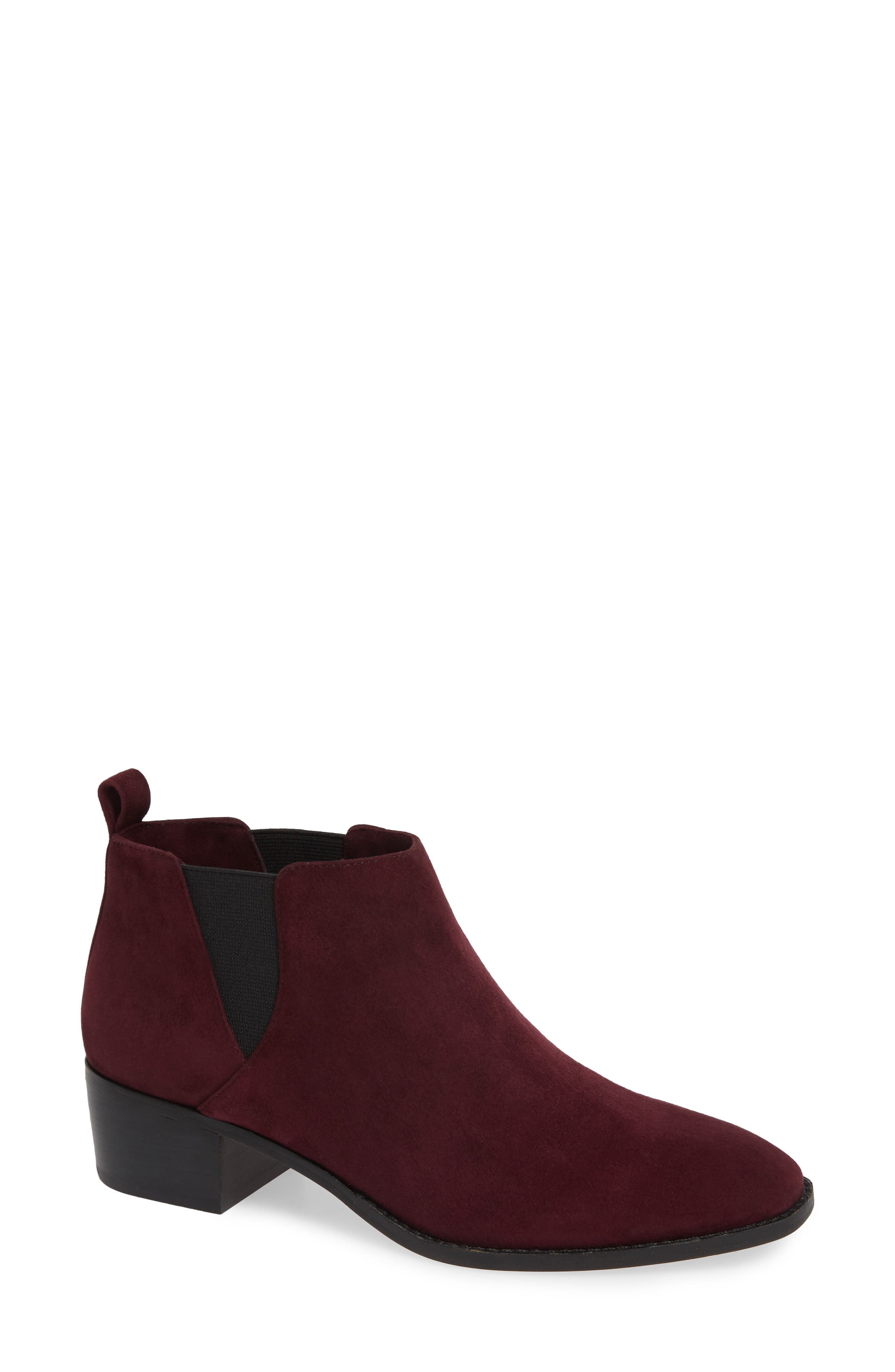 Jahlily Chelsea Bootie,                             Main thumbnail 1, color,                             DARK PLUM SUEDE