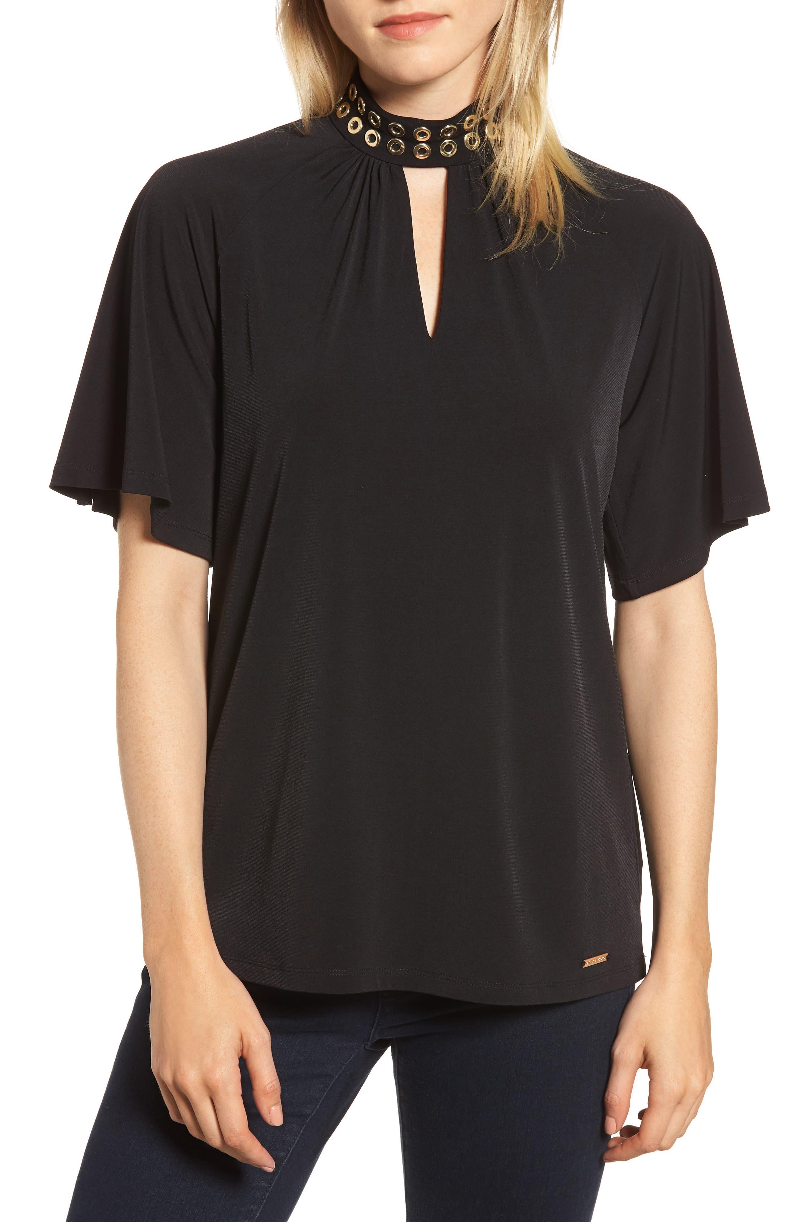Grommet Neck Shirred Top,                         Main,                         color, BLACK