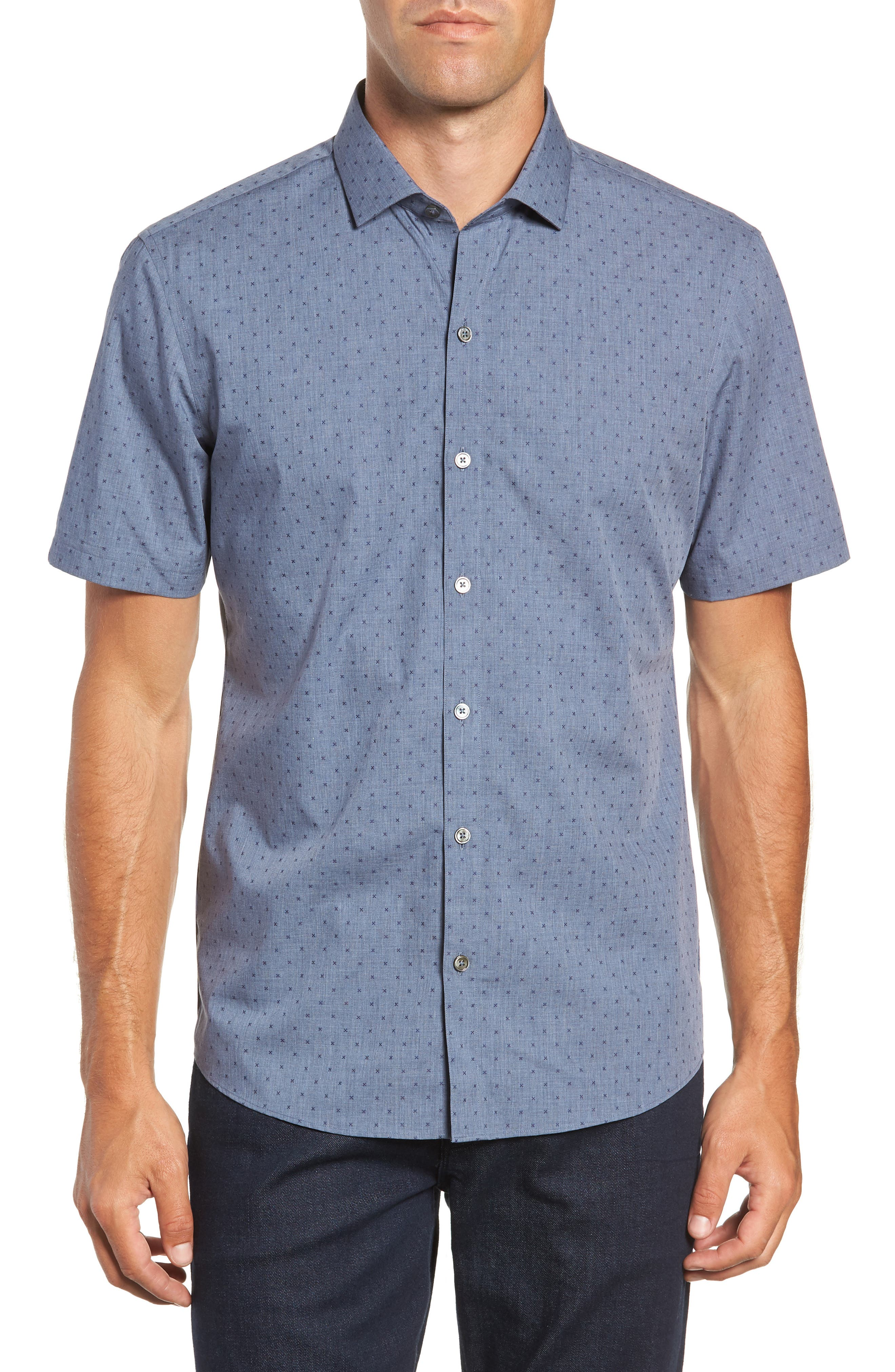 Huang Regular Fit Dobby Sport Shirt,                         Main,                         color, DENIM