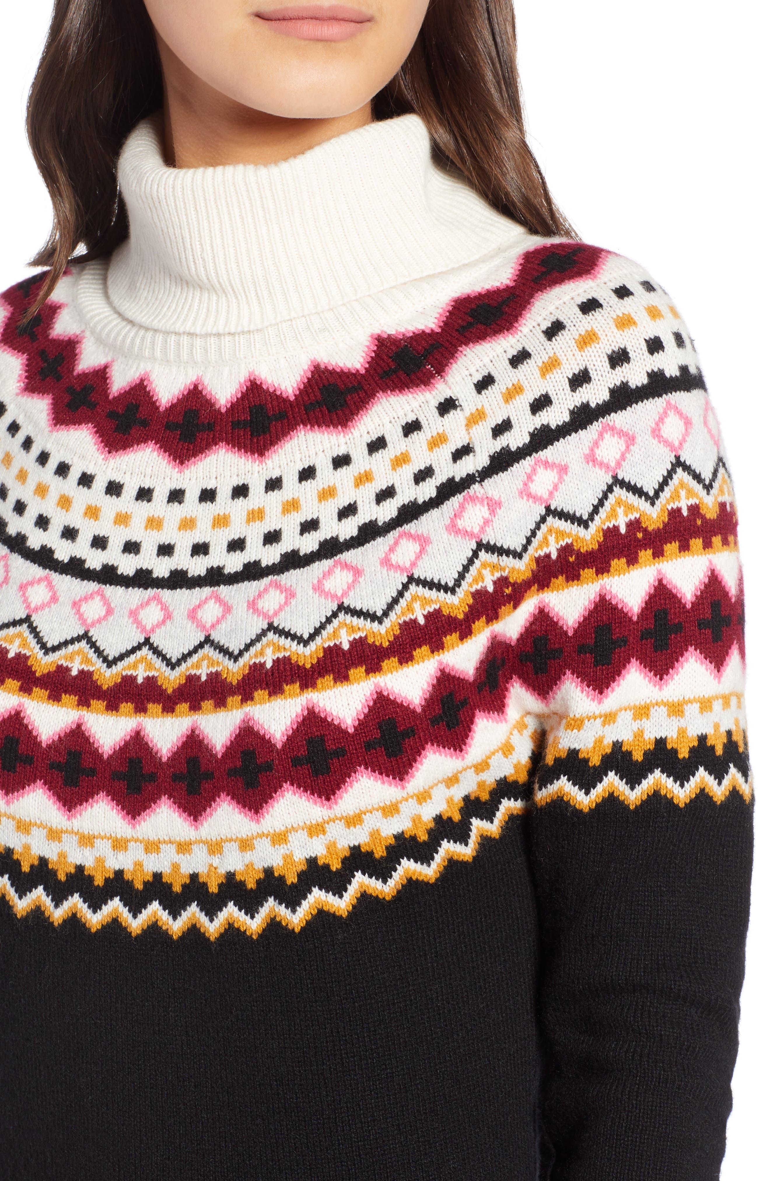Fair Isle Turtleneck Sweater,                             Alternate thumbnail 4, color,                             001
