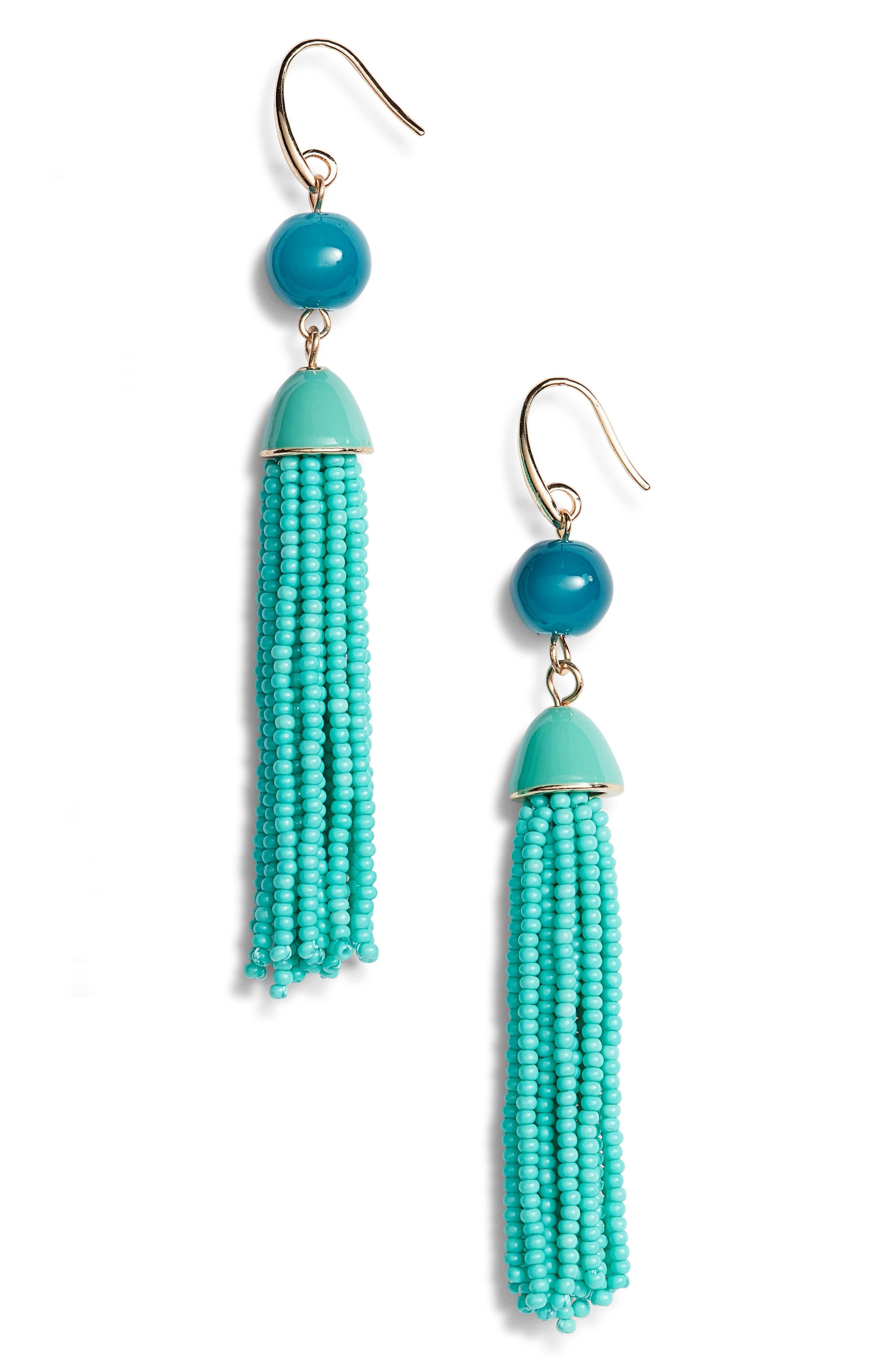 Beaded Tassel Drop Earrings,                             Main thumbnail 2, color,