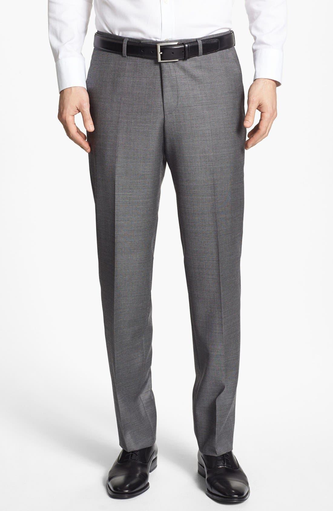 ZZDNUHUGO BOSS,                             BOSS HUGO BOSS 'Sharp' Flat Front Wool Trousers,                             Main thumbnail 1, color,                             001