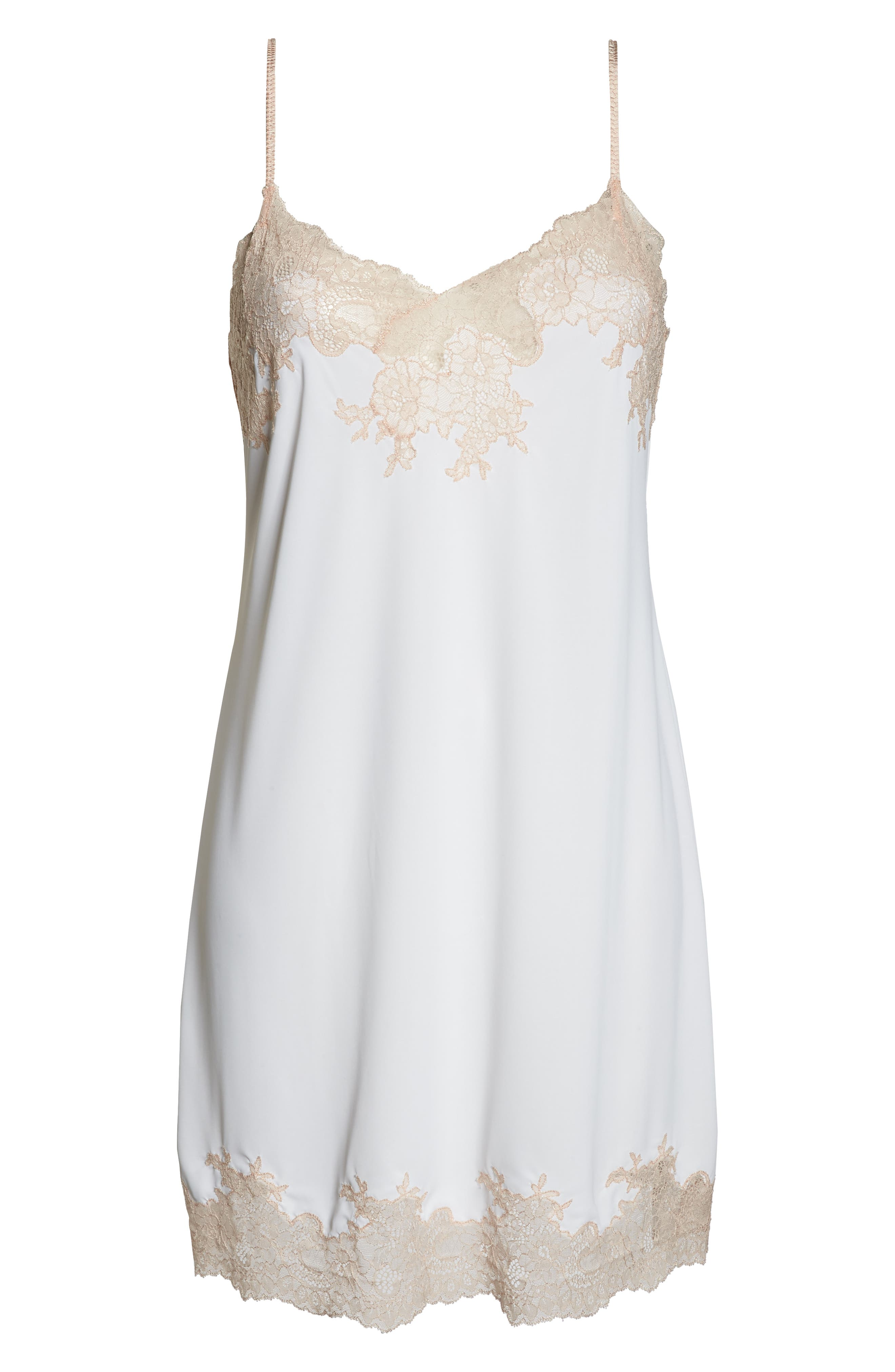 Enchant Chemise,                             Alternate thumbnail 6, color,                             IVORY/ CAMEO ROSE LACE