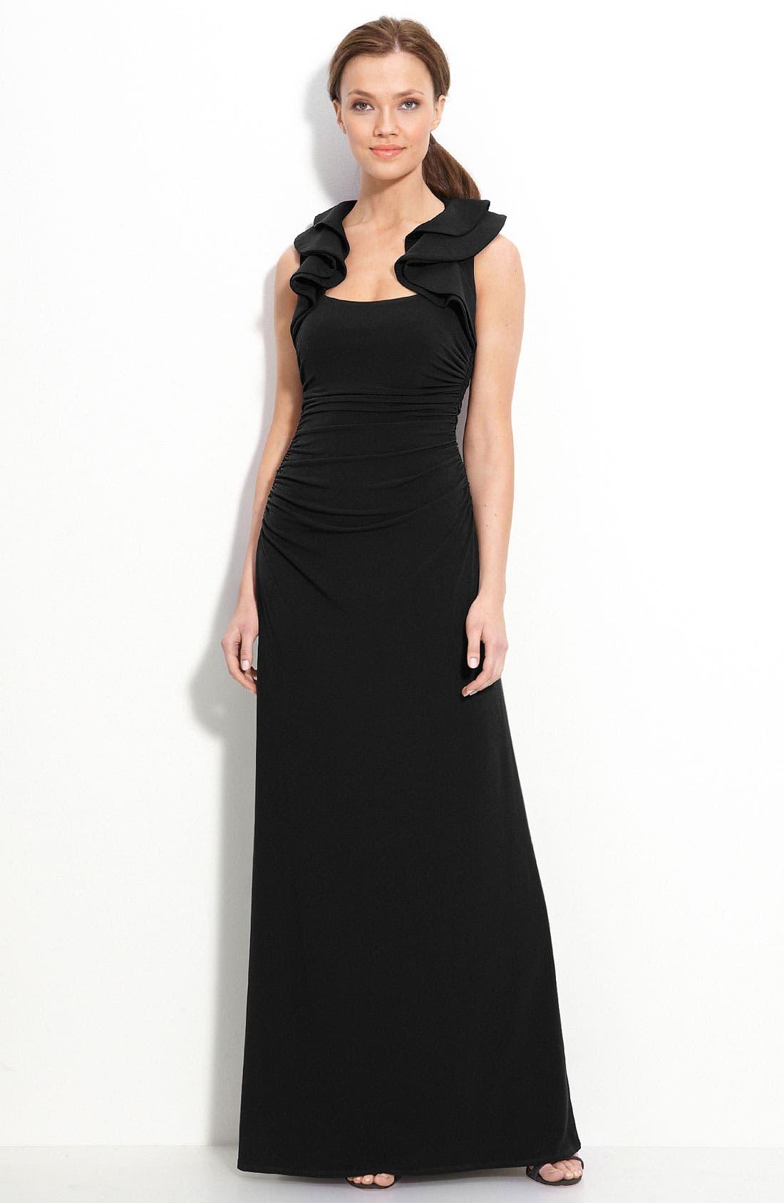 Ruffle Trim Jersey Dress,                             Main thumbnail 1, color,                             001