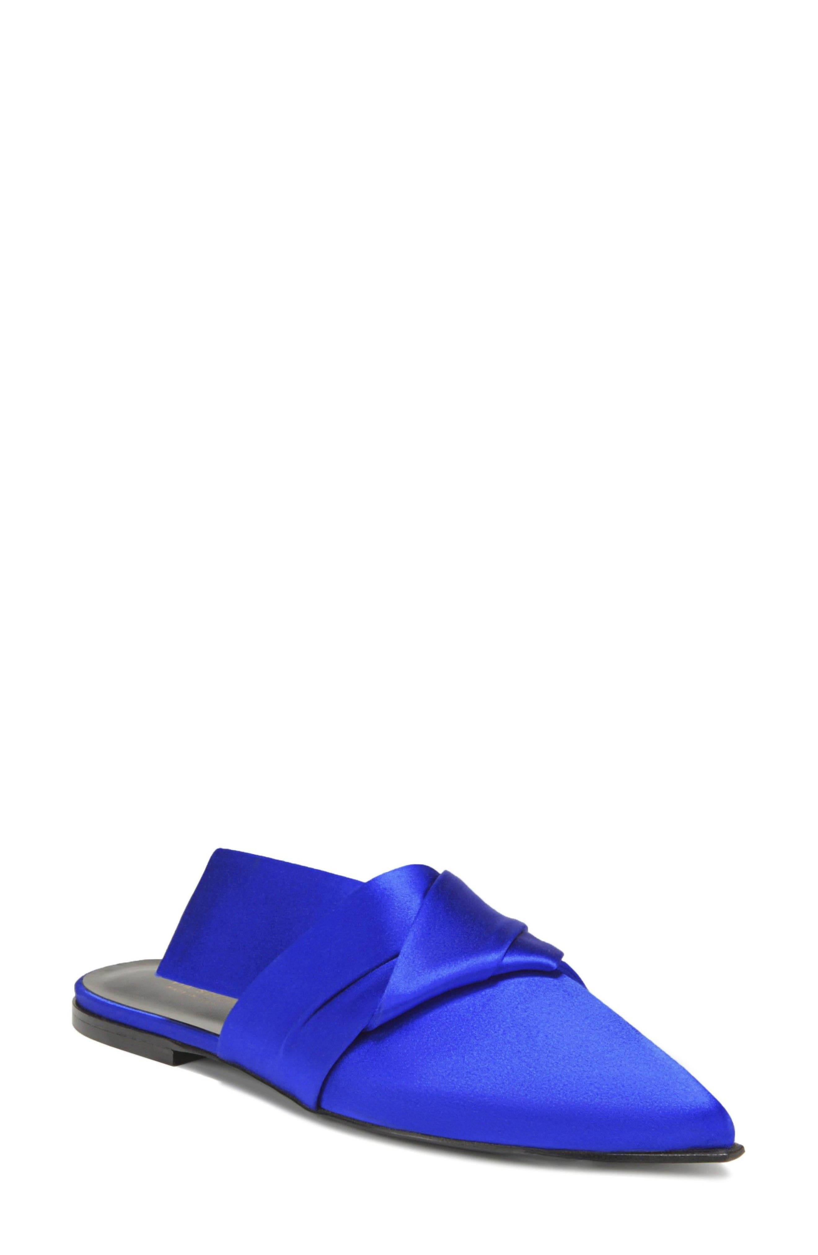 Birgit Pointy Toe Mule,                         Main,                         color, LAPIS FABRIC
