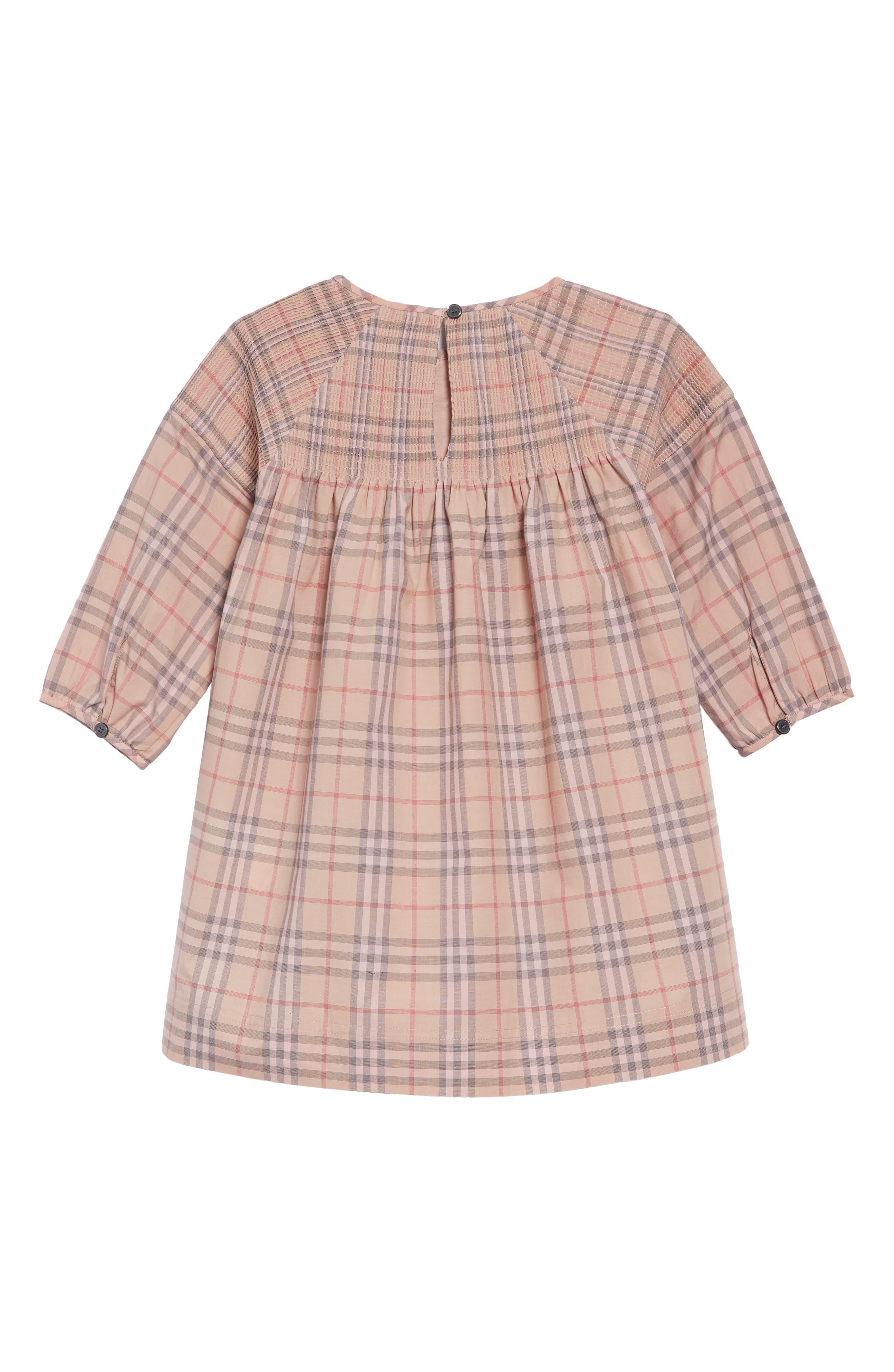 Mini Loralie Ruffle Detail Check Cotton Dress,                             Alternate thumbnail 2, color,                             PALE PINK