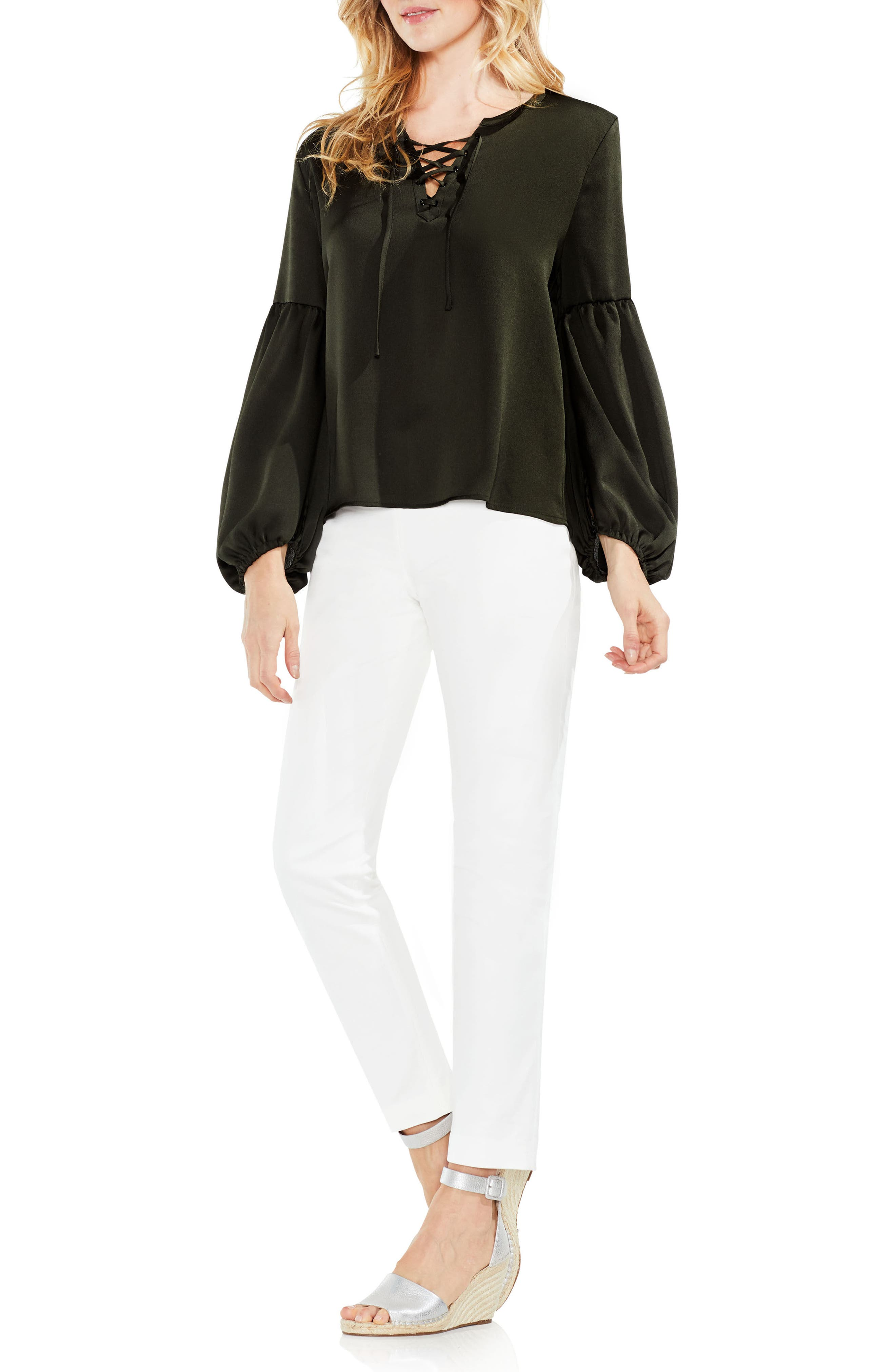 Lace-Up Hammered Satin Blouse,                             Alternate thumbnail 20, color,
