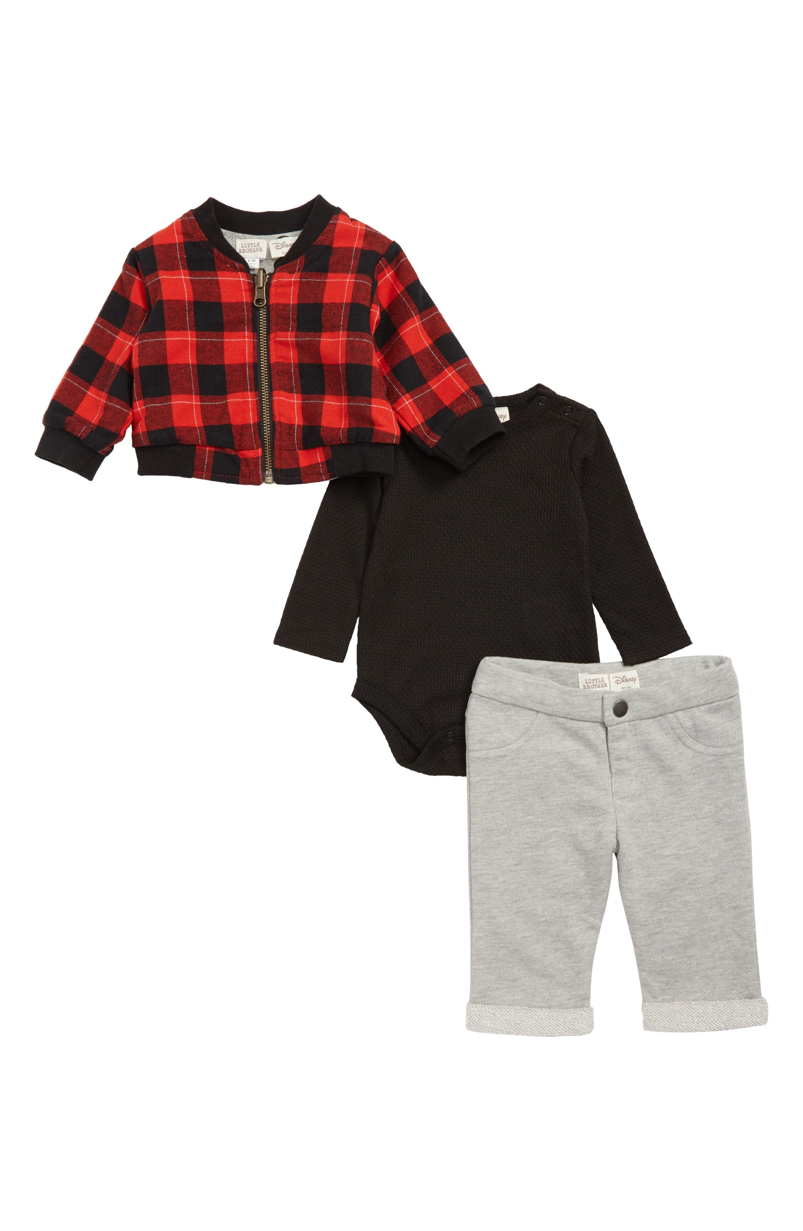Infant Boys Little Brother By Pippa  Julie X Disney Mickey Mouse Reversible Bomber Jacket Bodysuit  Pants Set