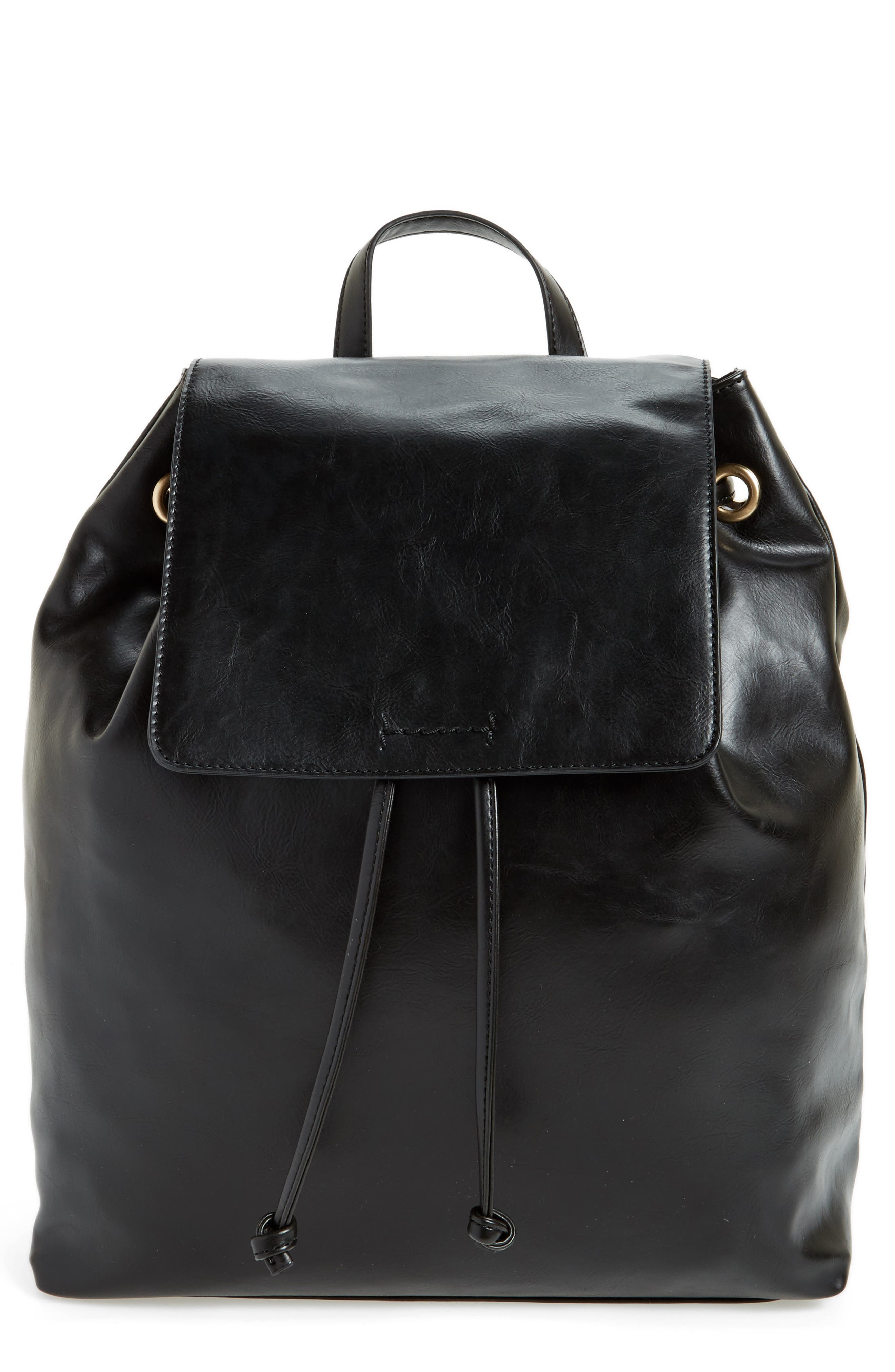Carly Slouchy Faux Leather Backpack,                             Main thumbnail 1, color,                             001