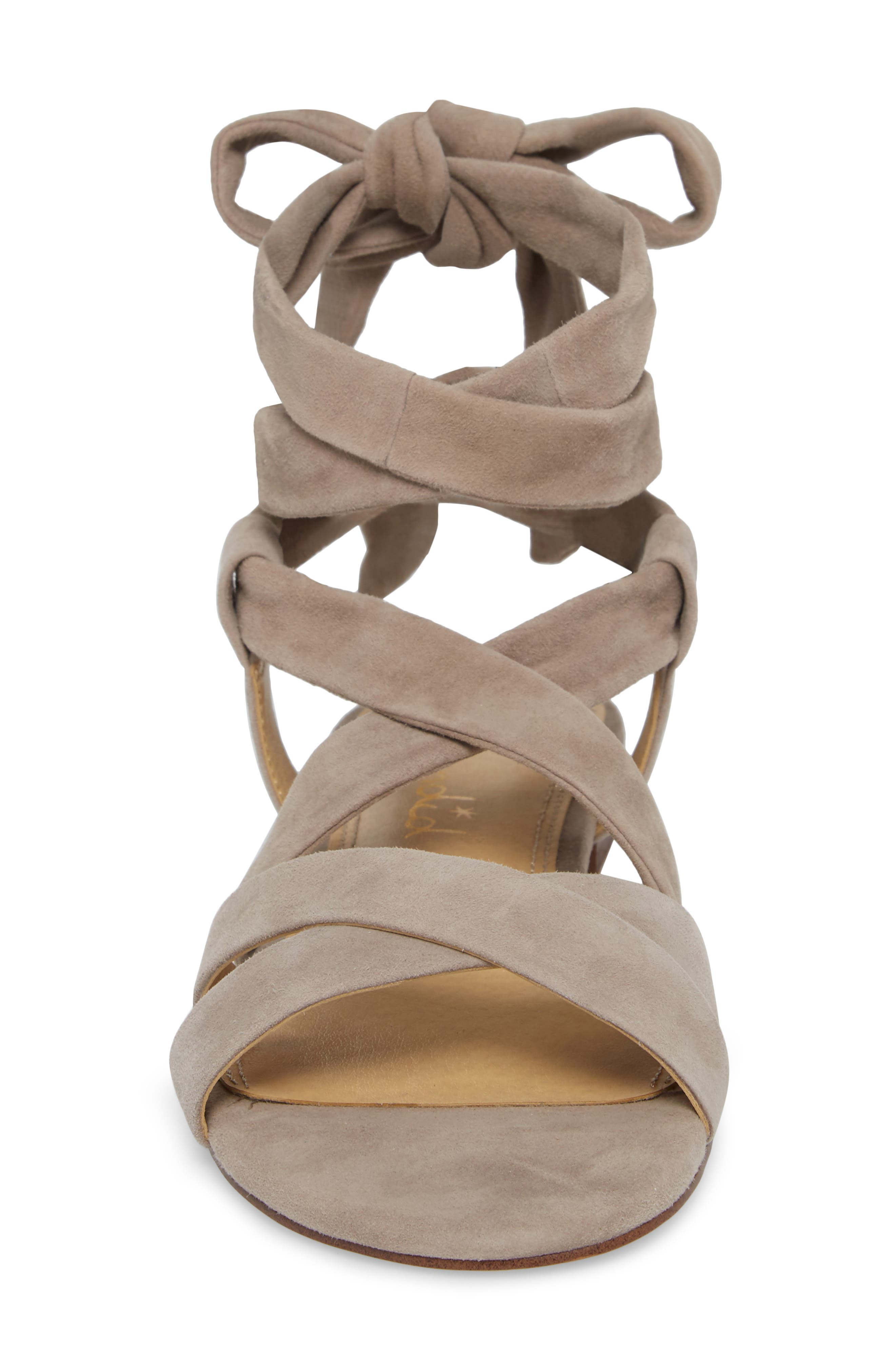 Feodora Ankle Wrap Sandal,                             Alternate thumbnail 4, color,                             TAUPE SUEDE