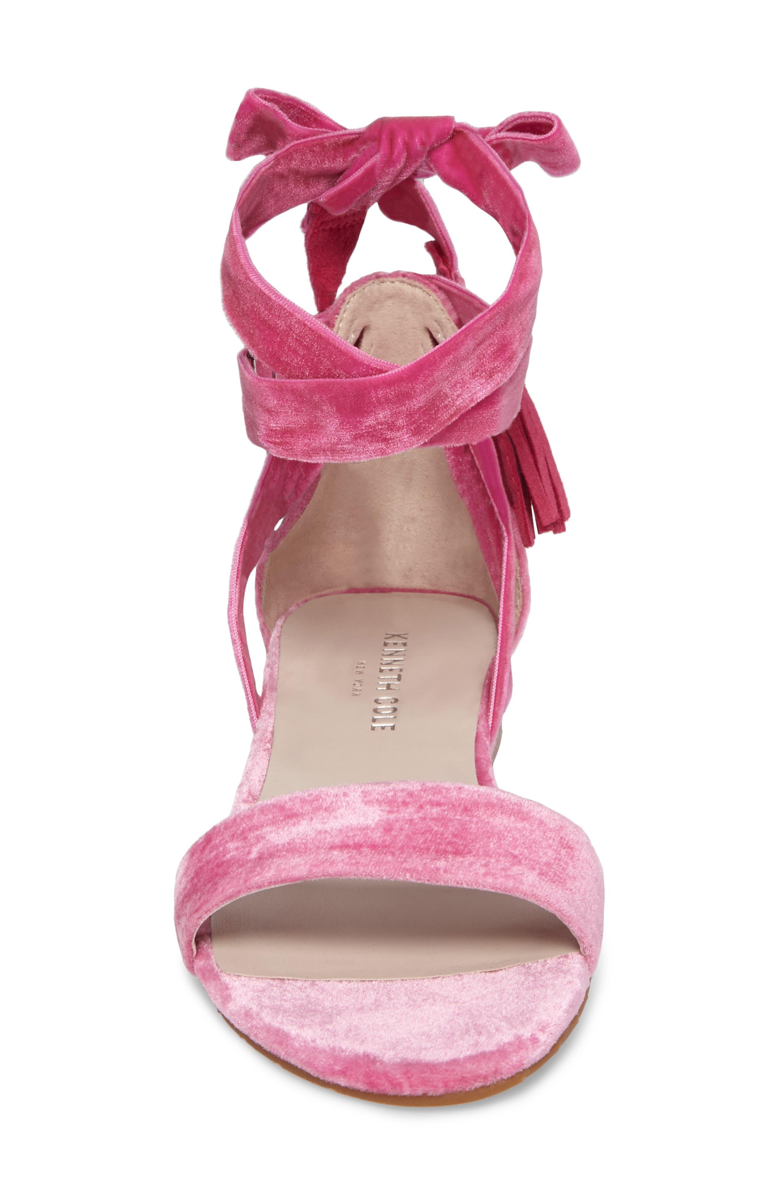 Valen Tassel Lace-Up Sandal,                             Alternate thumbnail 4, color,                             FUCHSIA VELVET