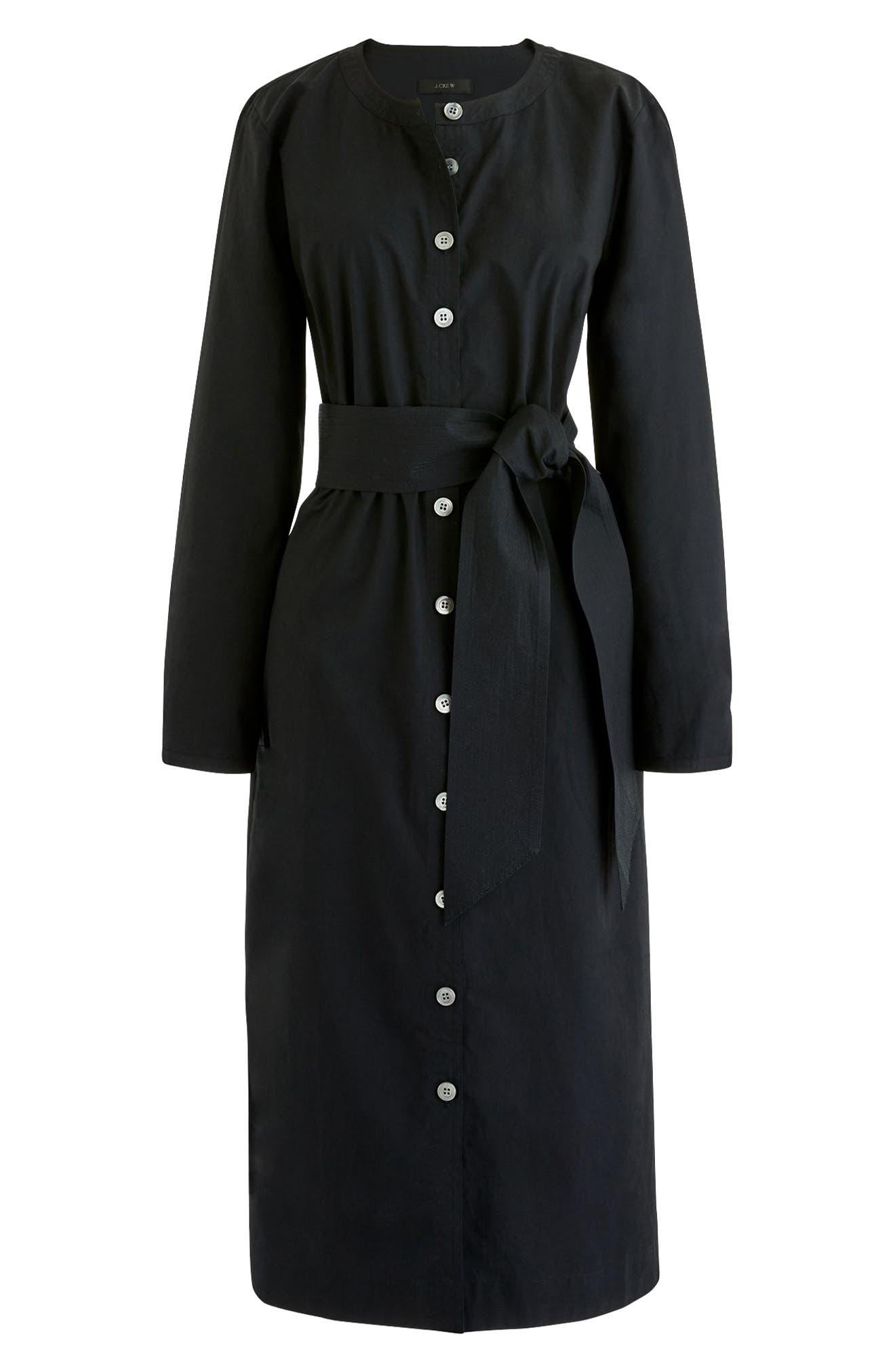 Collarless Cotton Shirtdress,                         Main,                         color, 001