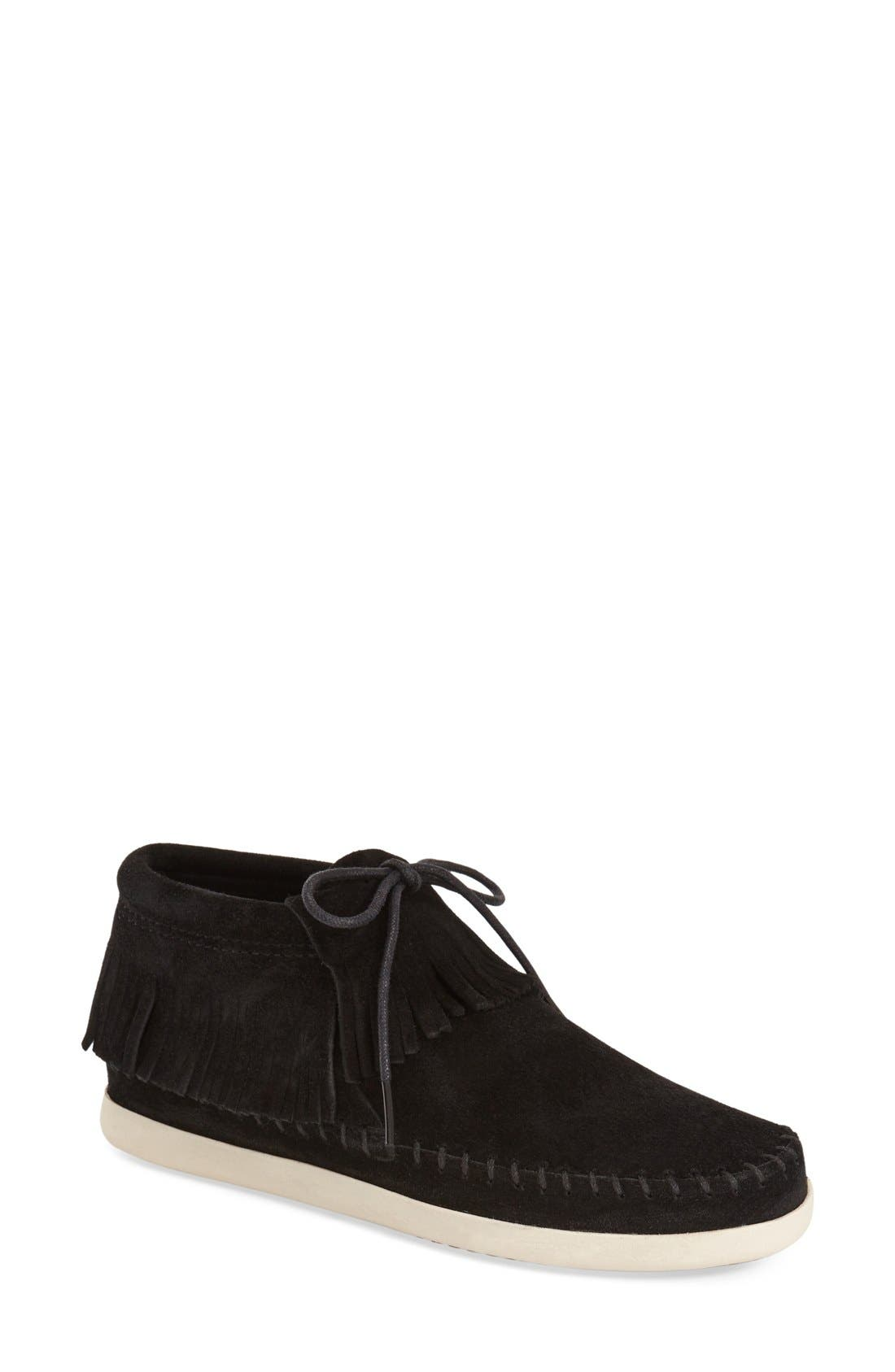 'Venice' Fringe Moccasin Bootie,                         Main,                         color, 001