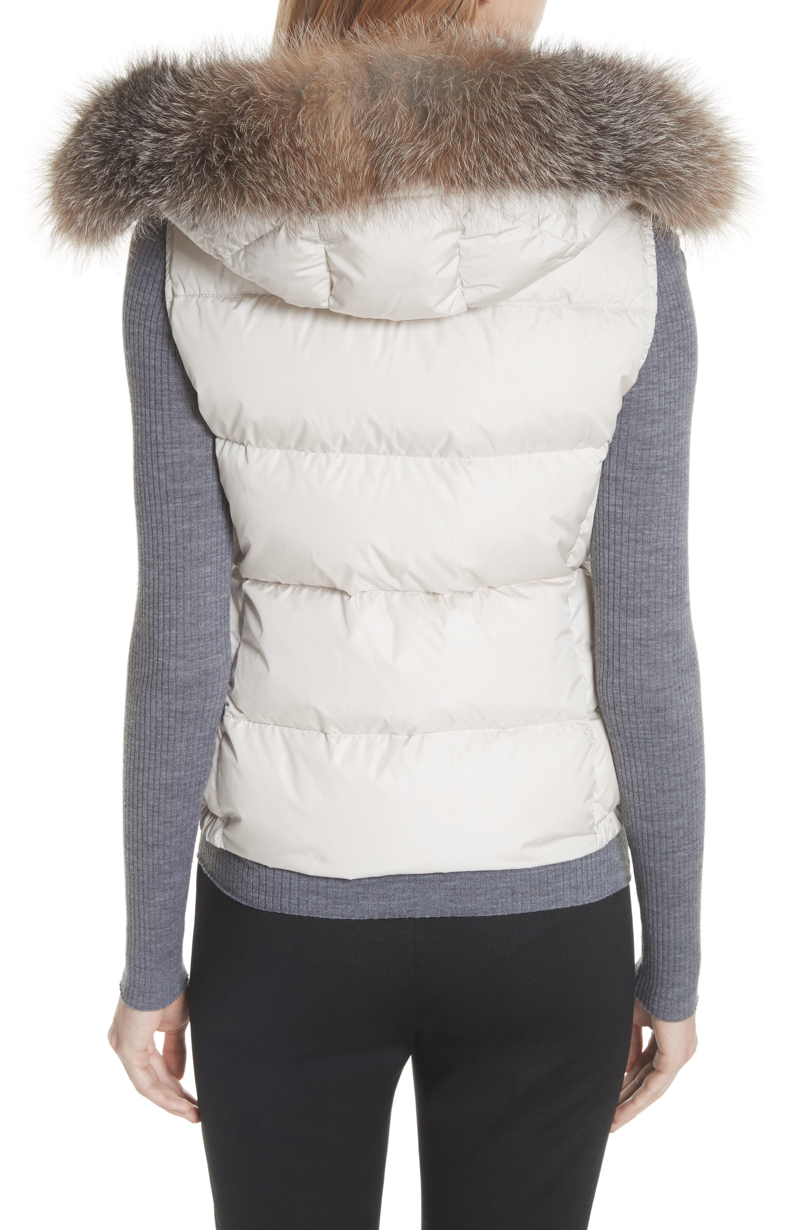 Gallinule Quilted Down Vest with Detachable Genuine Fox Fur Trim Hood,                             Alternate thumbnail 3, color,                             CHAMPAGNE