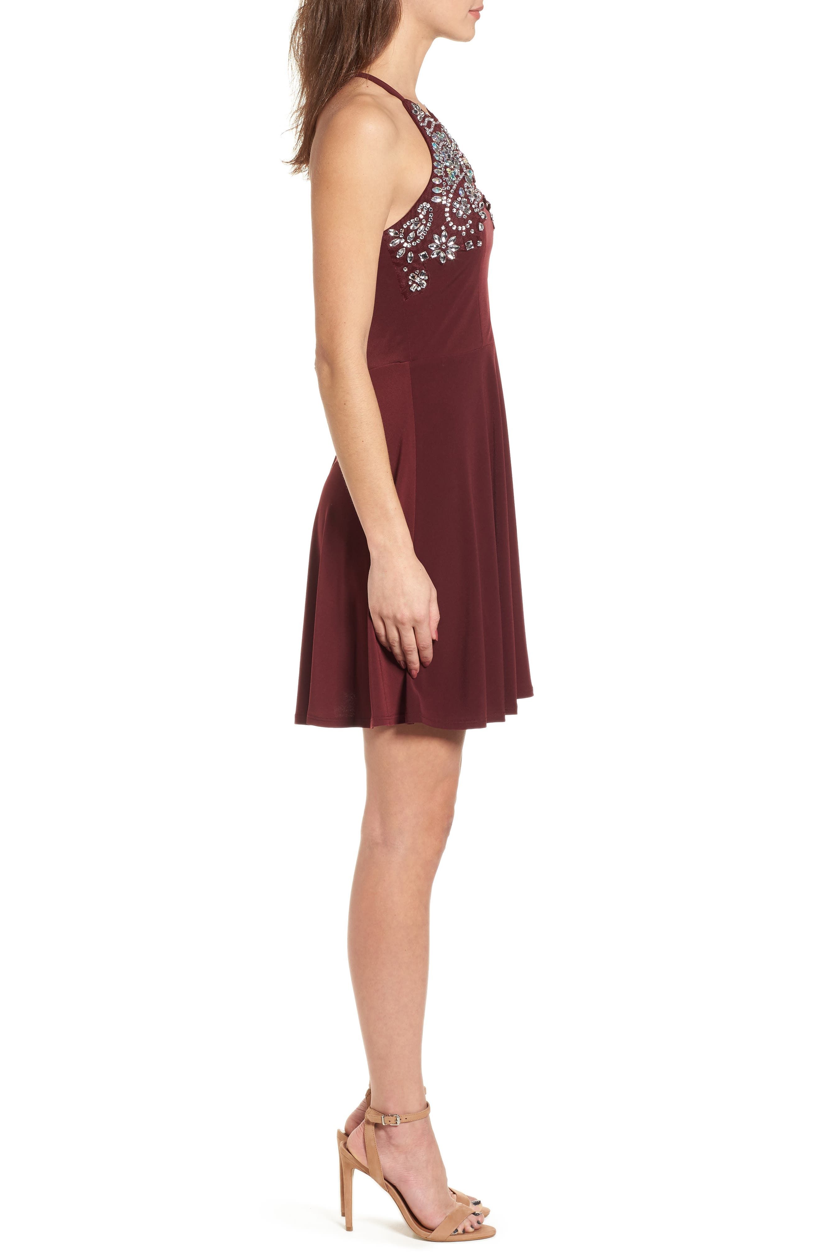 Crystal Halter Dress,                             Alternate thumbnail 3, color,                             WINE