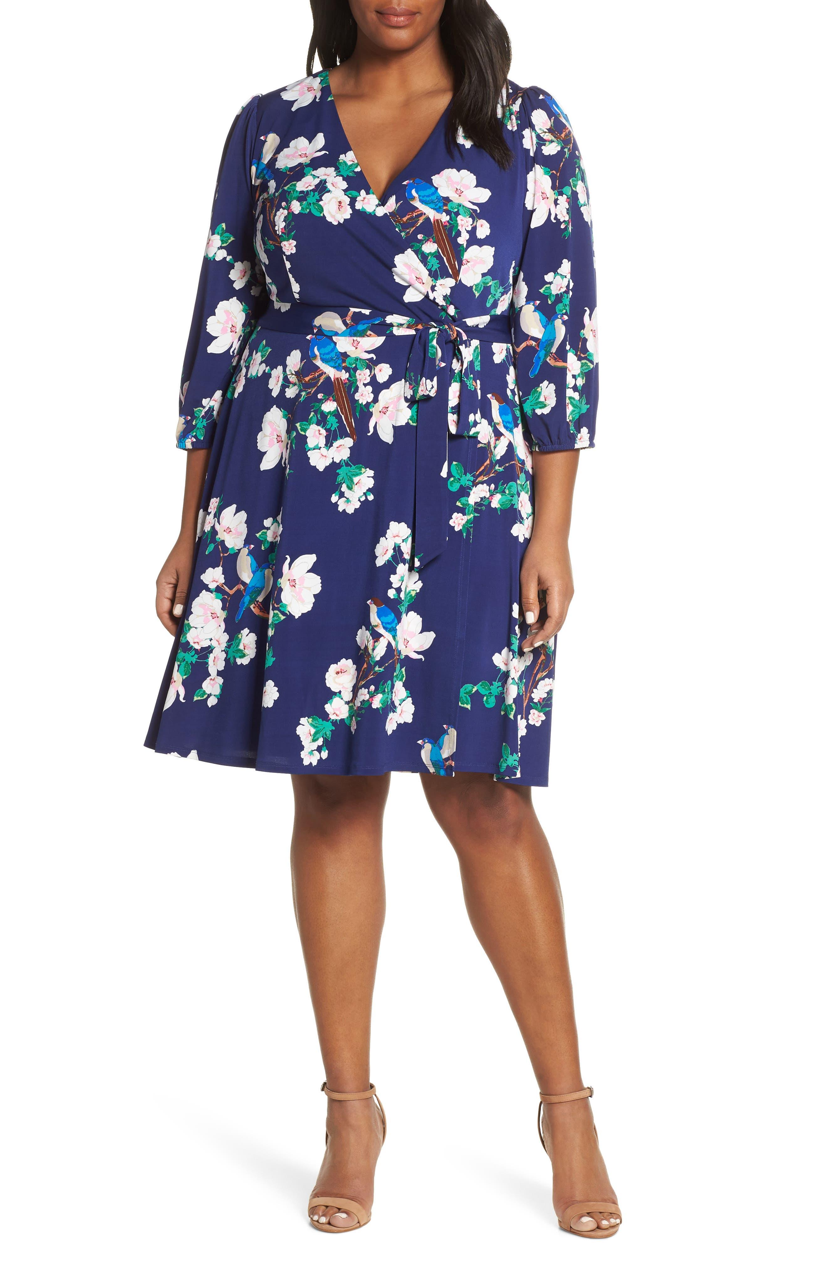 Plus Size Eliza J Floral Faux Wrap Dress, Blue