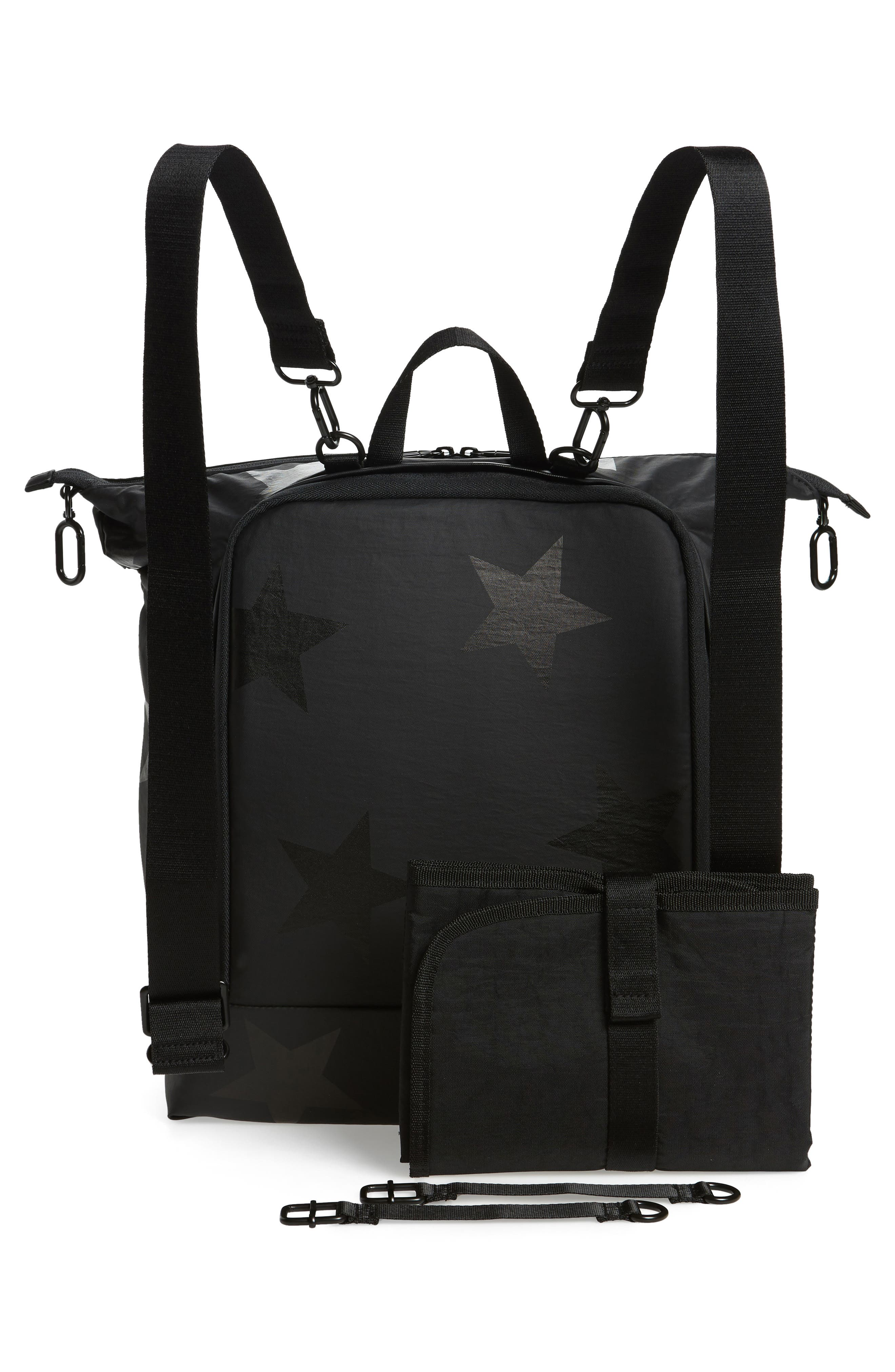 +one duo Nylon Convertible Diaper Bag,                             Alternate thumbnail 3, color,                             BLACK STAR