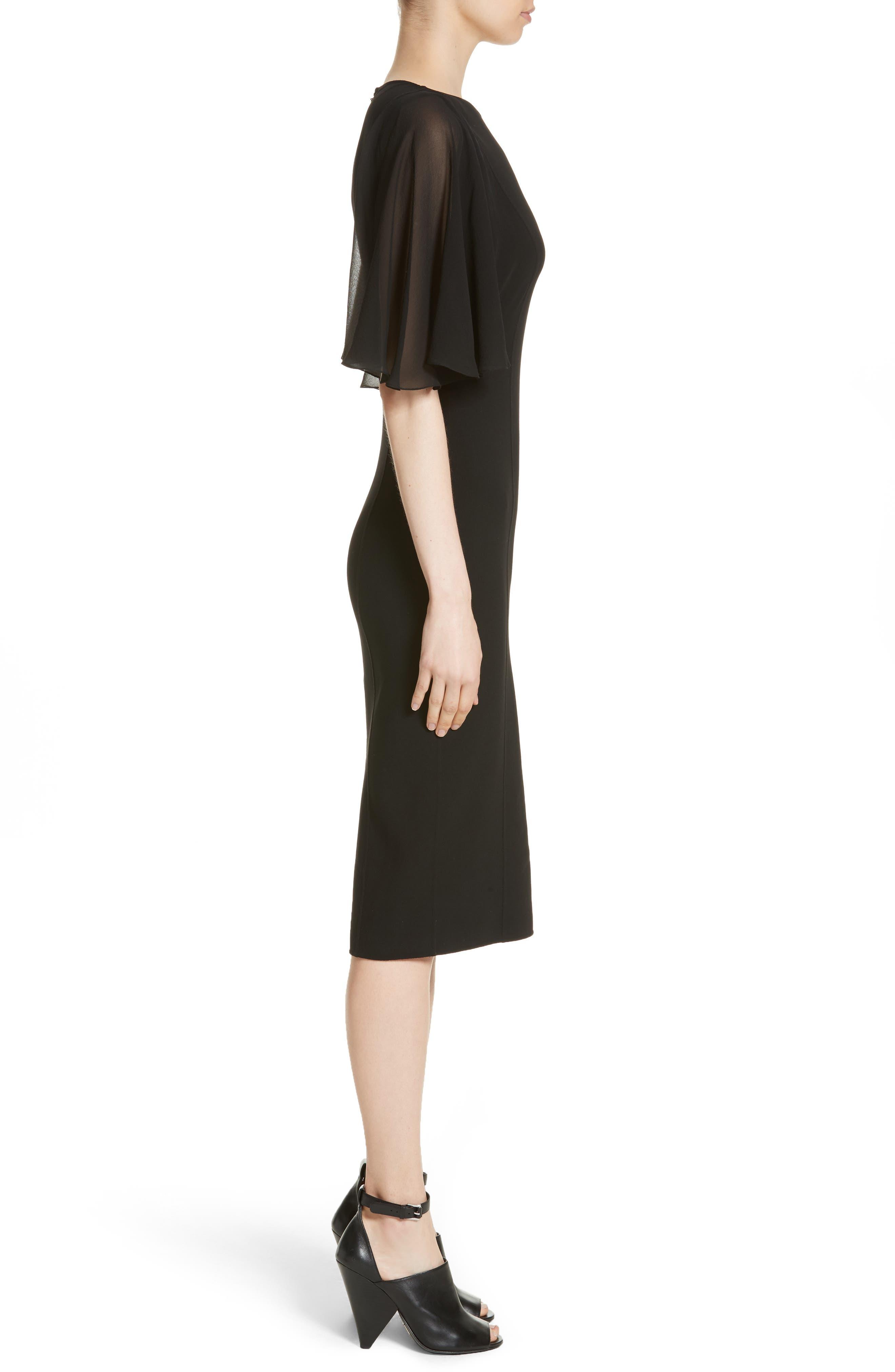 Draped Chiffon Sleeve Dress,                             Alternate thumbnail 3, color,                             001