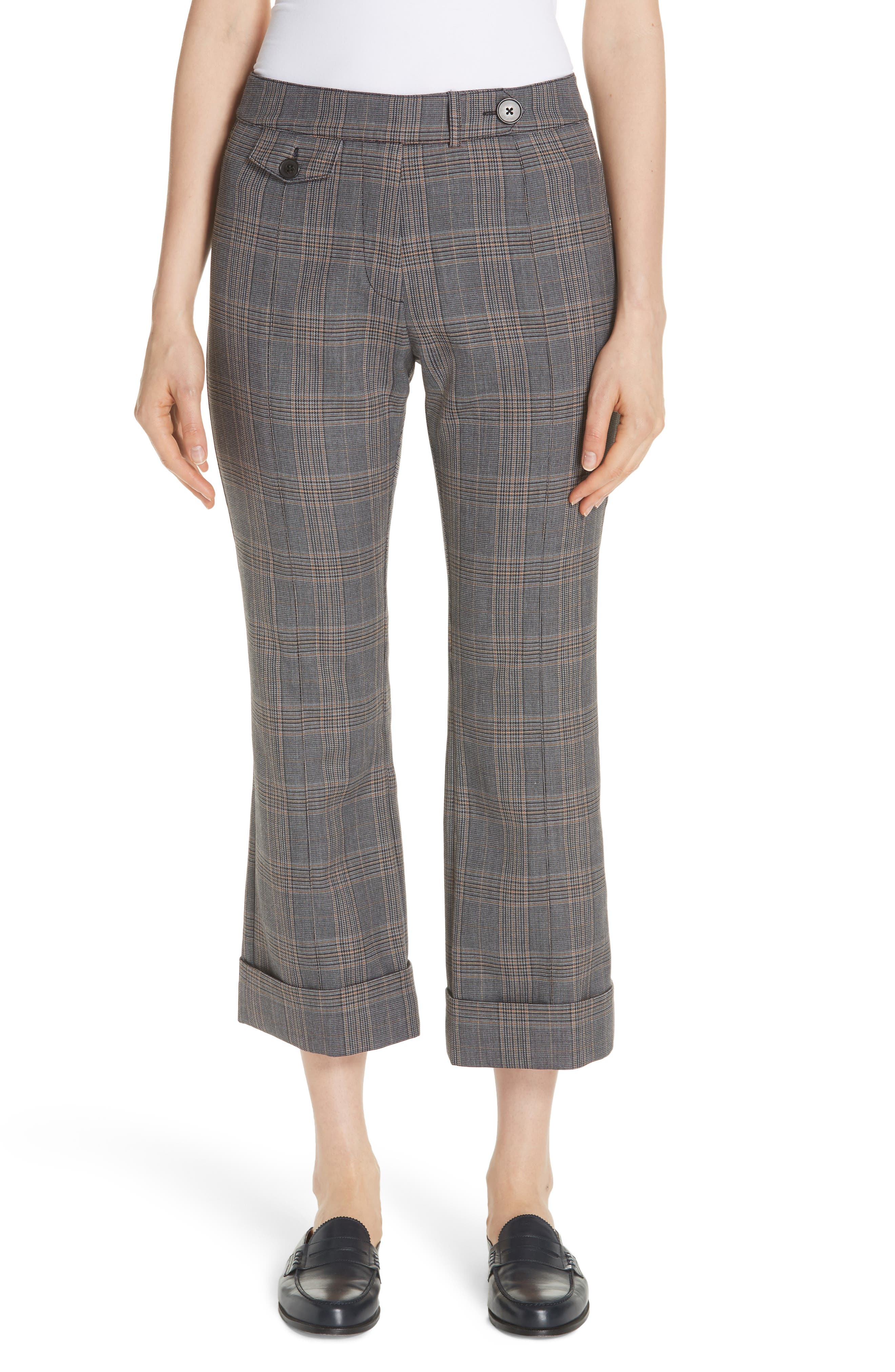 Derek Lam 10 Crosby Plaid Crop Flare Pants, Grey