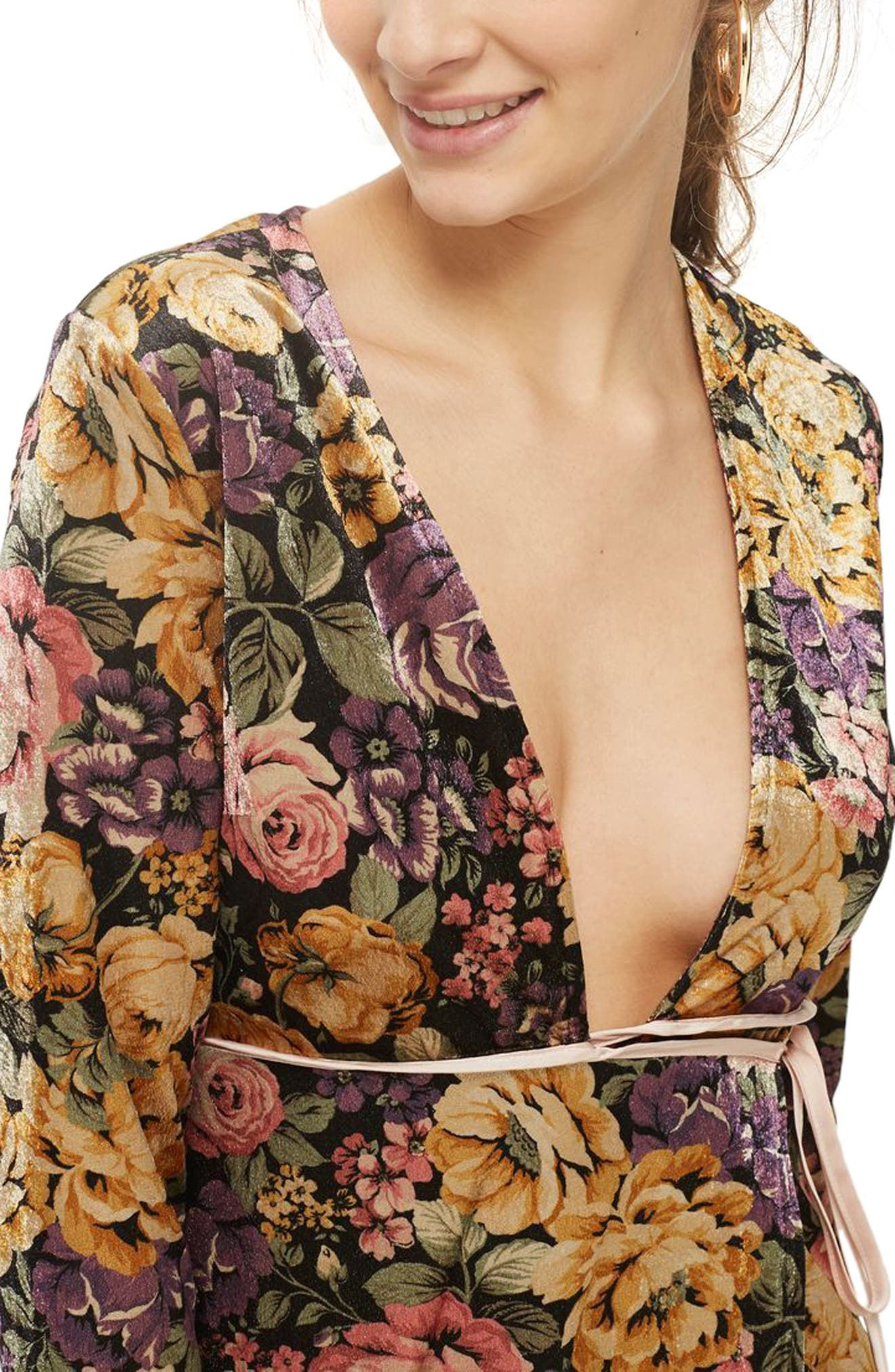 Plunge Floral Wrap Dress,                             Alternate thumbnail 3, color,                             740
