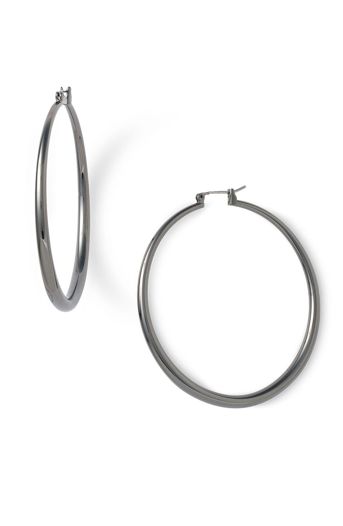 Thick Medium Hoop Earrings,                         Main,                         color, 001