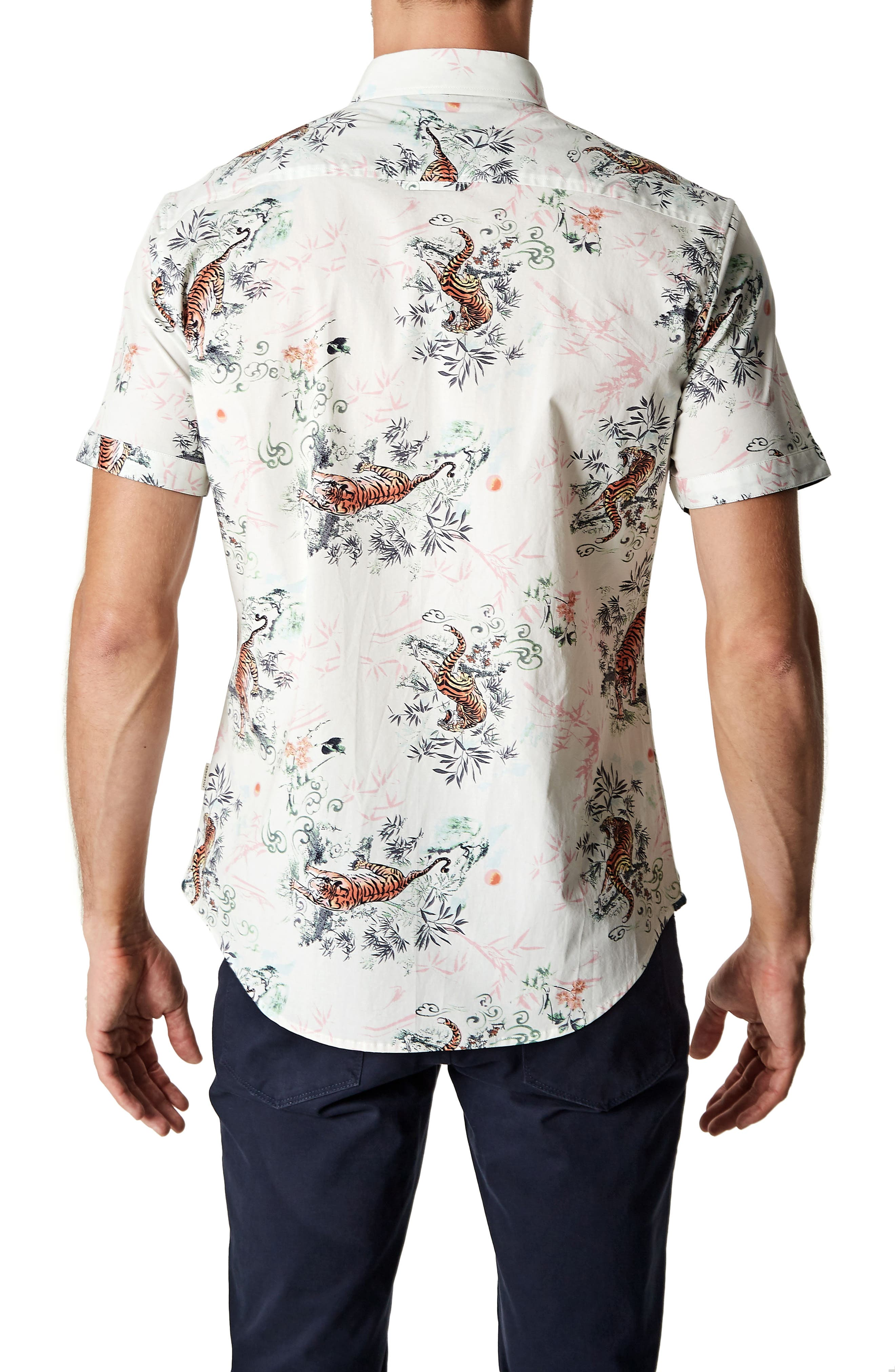 Wild Thoughts Tiger Print Woven Shirt,                             Alternate thumbnail 2, color,