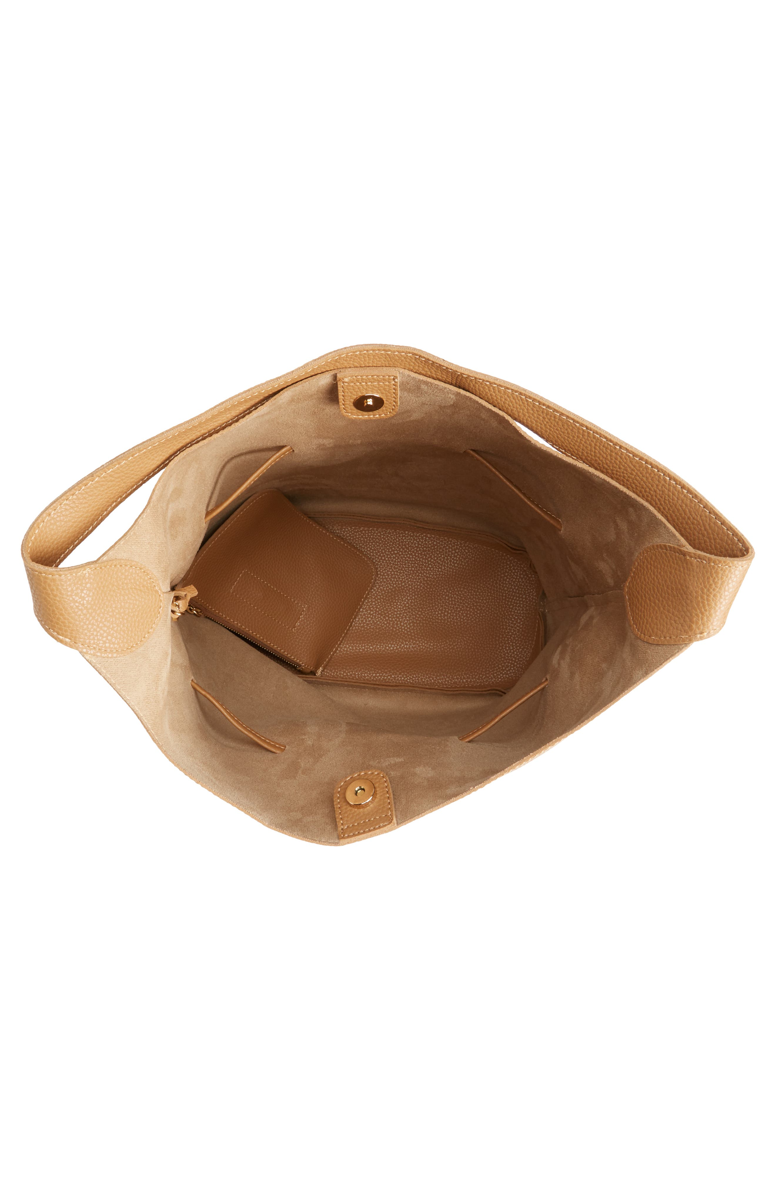 Drawstring Faux Leather Bucket Bag,                             Alternate thumbnail 4, color,                             NUDE