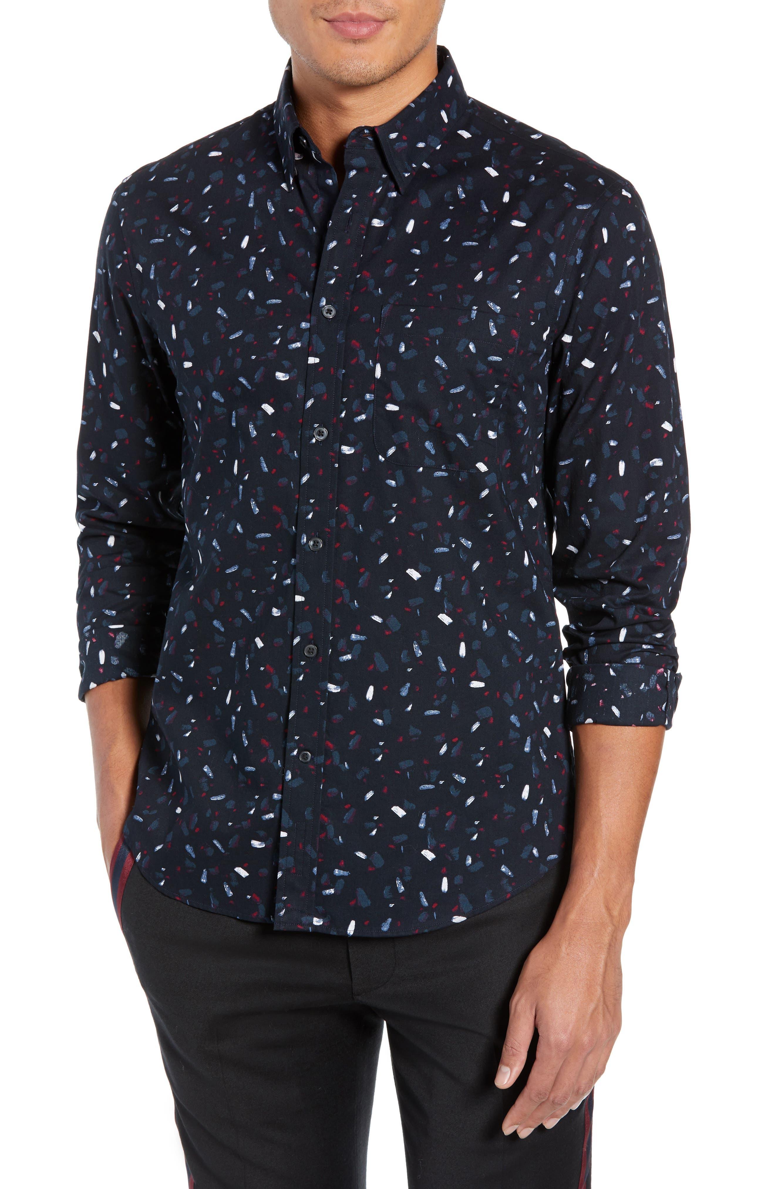 Trim Fit Print Sport Shirt,                             Main thumbnail 1, color,                             BLACK MULTI