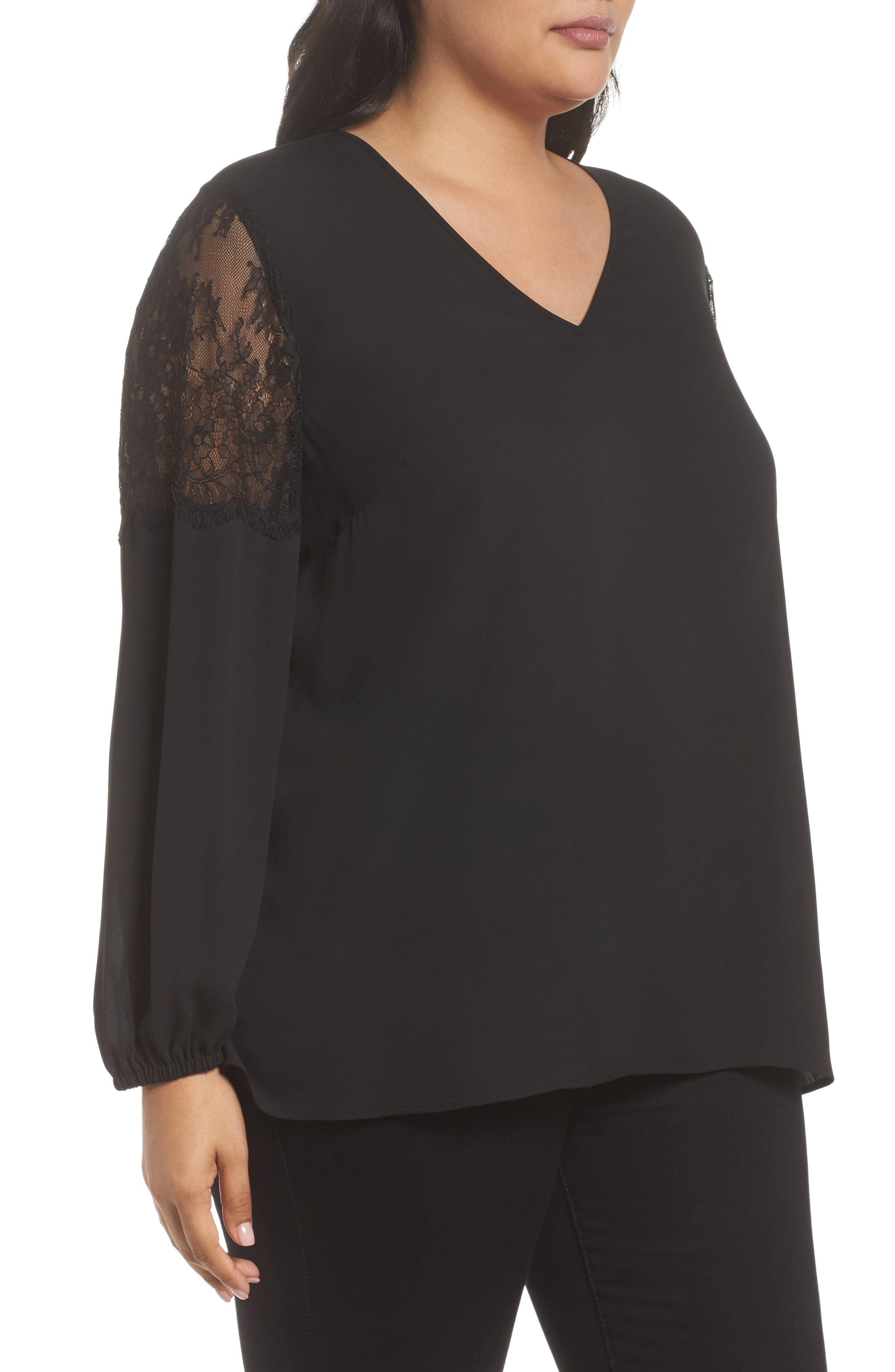 Lace Inset Sleeve Top,                             Alternate thumbnail 3, color,                             001