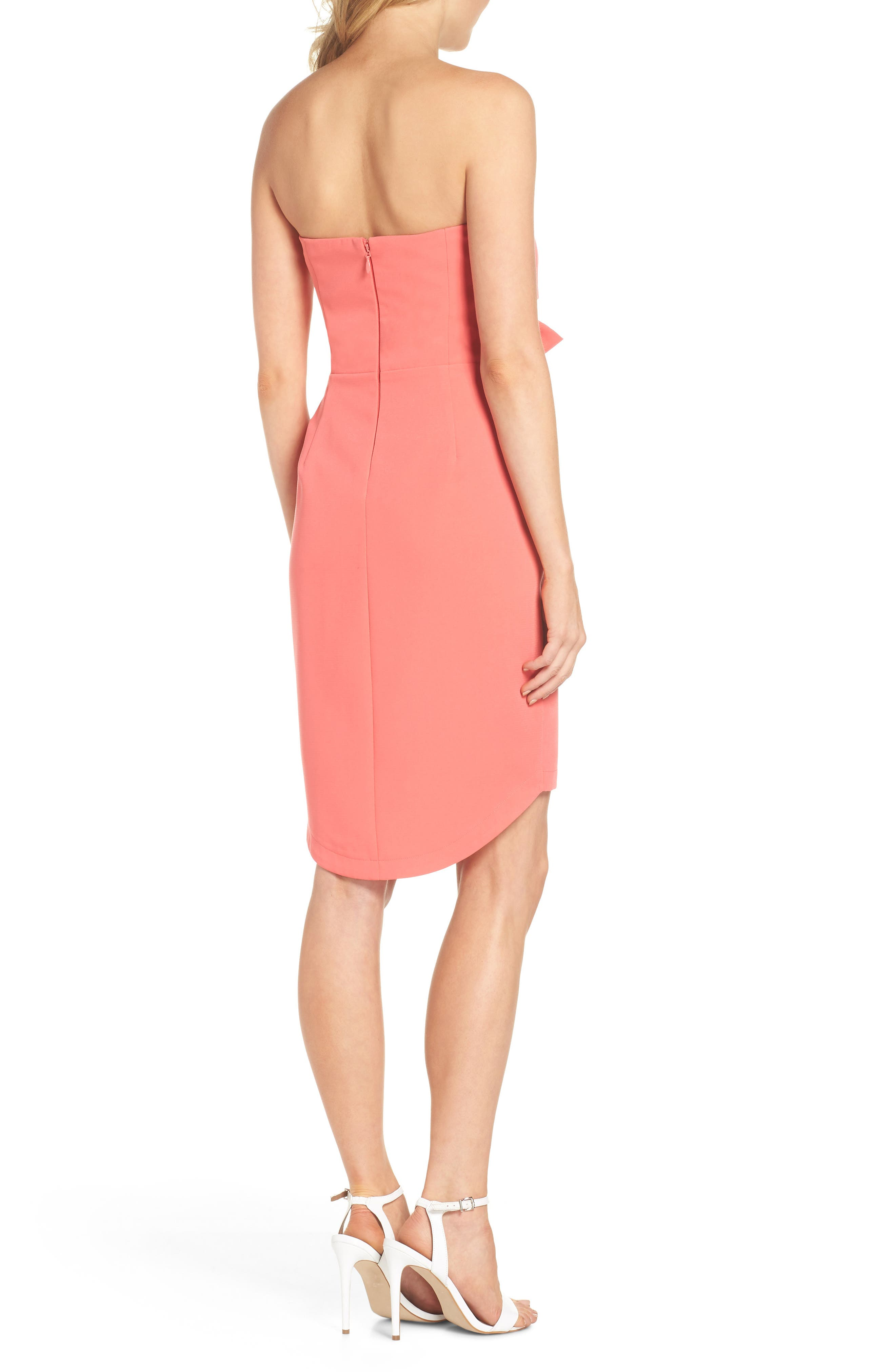 Harper Knotted Strapless Minidress,                             Alternate thumbnail 2, color,                             CORAL