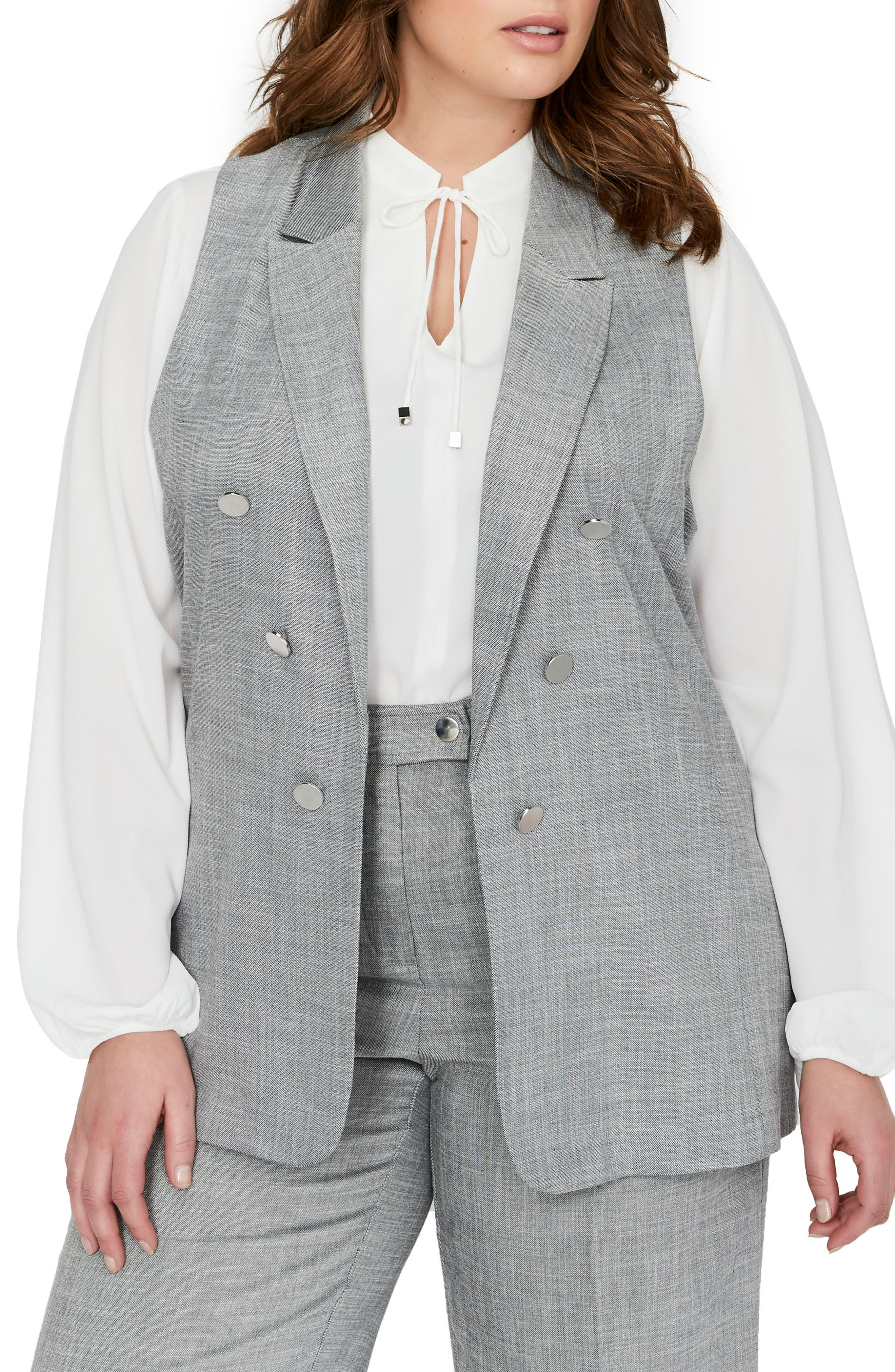 Peak Collar Vest,                             Main thumbnail 1, color,                             BLACK/ WHITE YARN DYE- SW