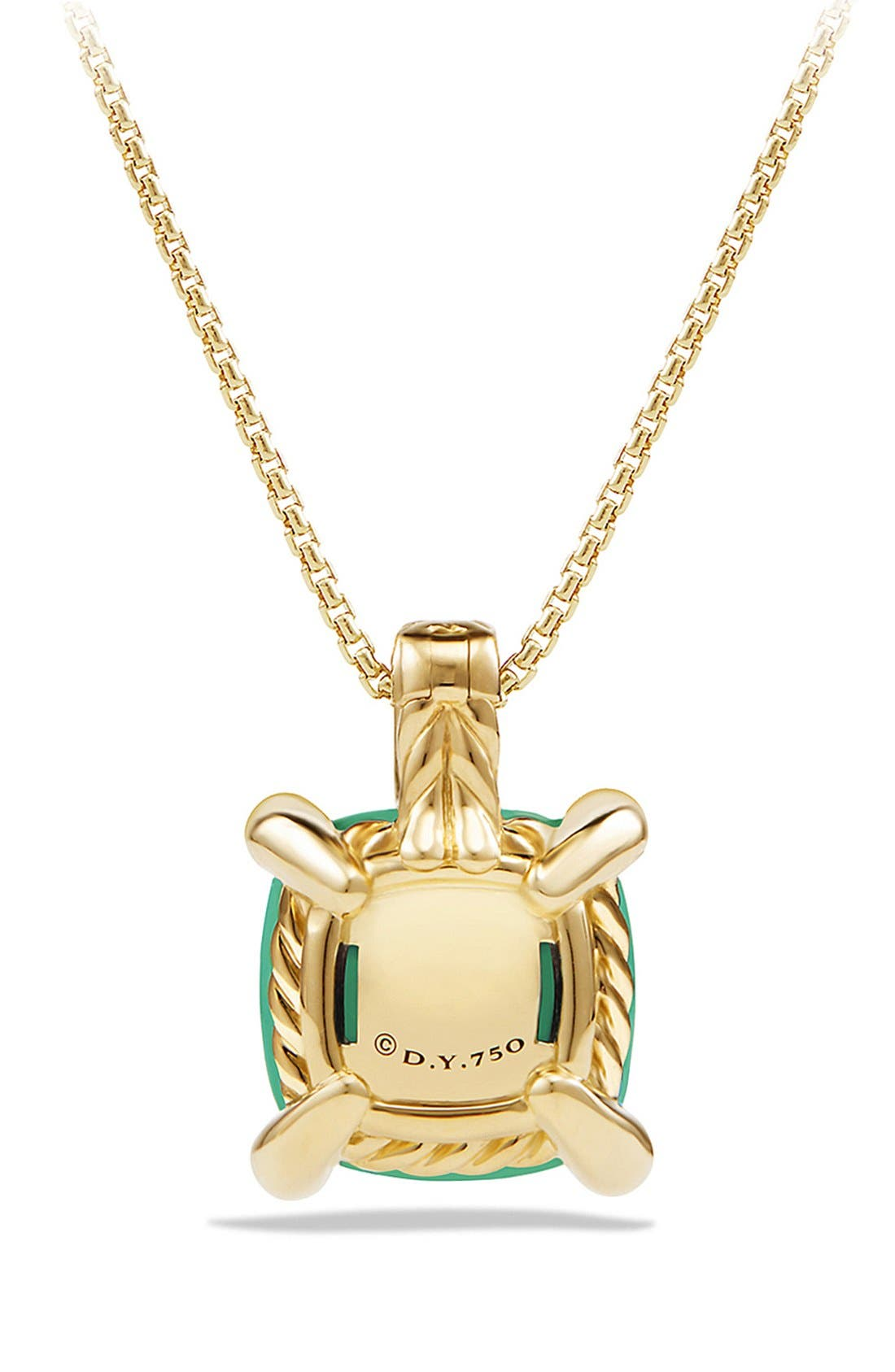 DAVID YURMAN,                             'Châtelaine' Pendant Necklace with Diamonds,                             Alternate thumbnail 3, color,                             CHRYSOPRASE