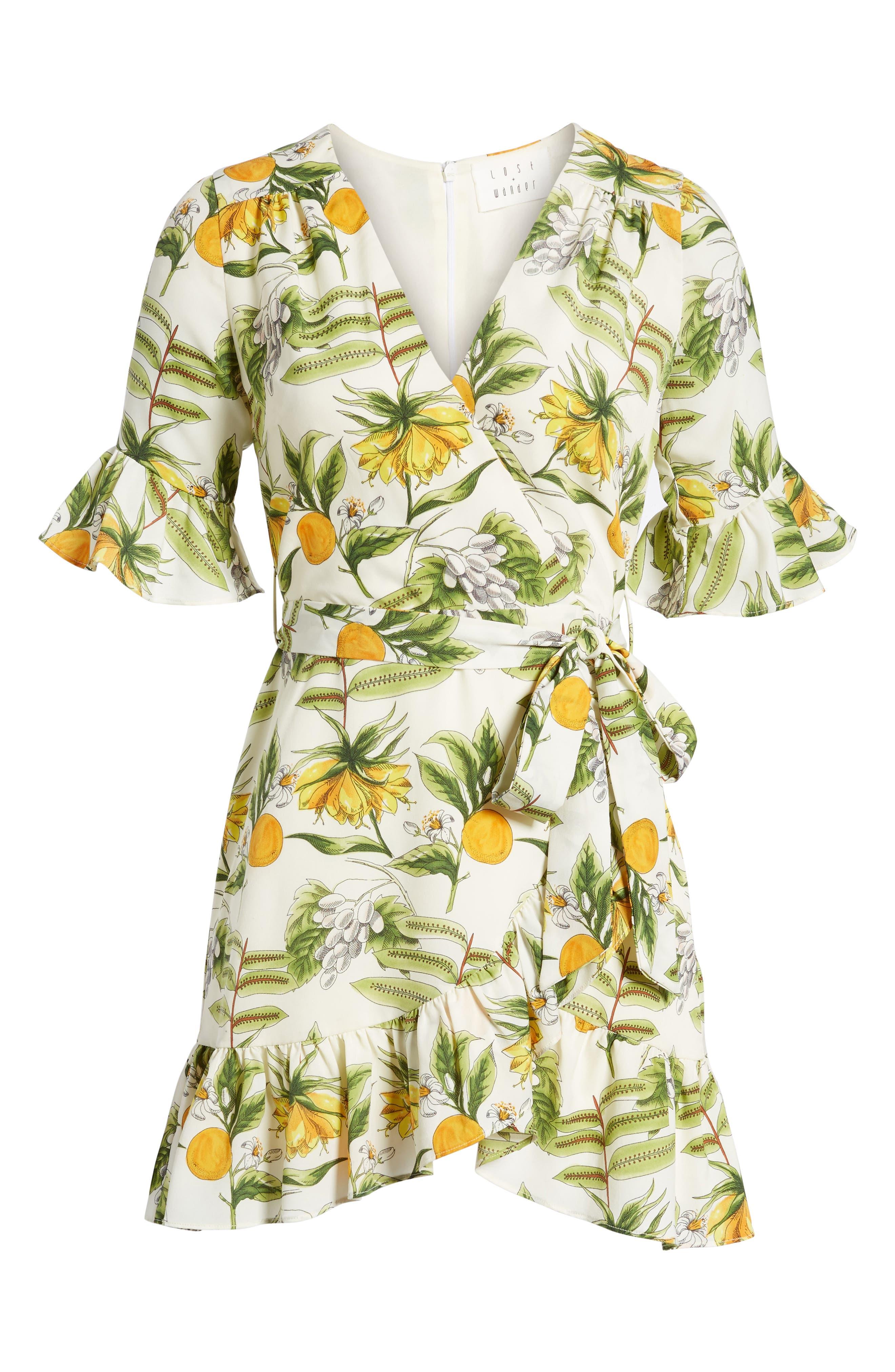 Limonada Citrus Dress,                             Alternate thumbnail 6, color,                             IVORY/ YELLOW