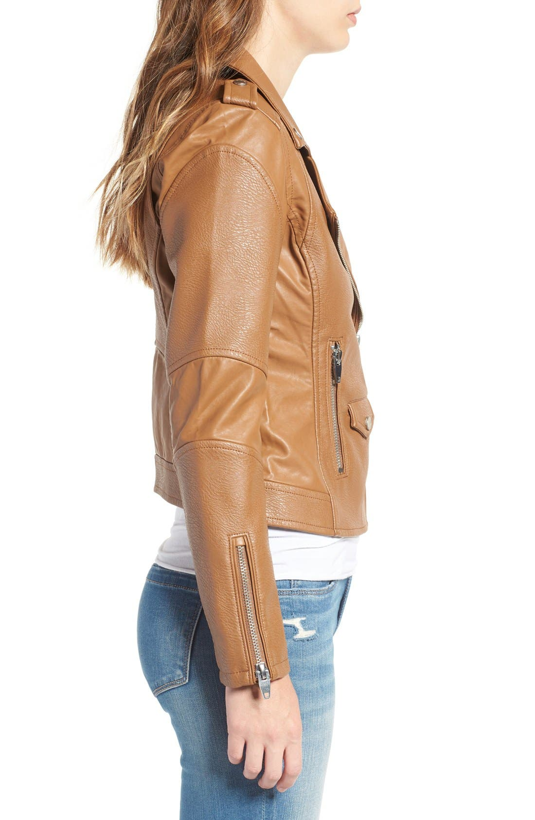 'Easy Rider' Faux Leather Moto Jacket,                             Alternate thumbnail 16, color,