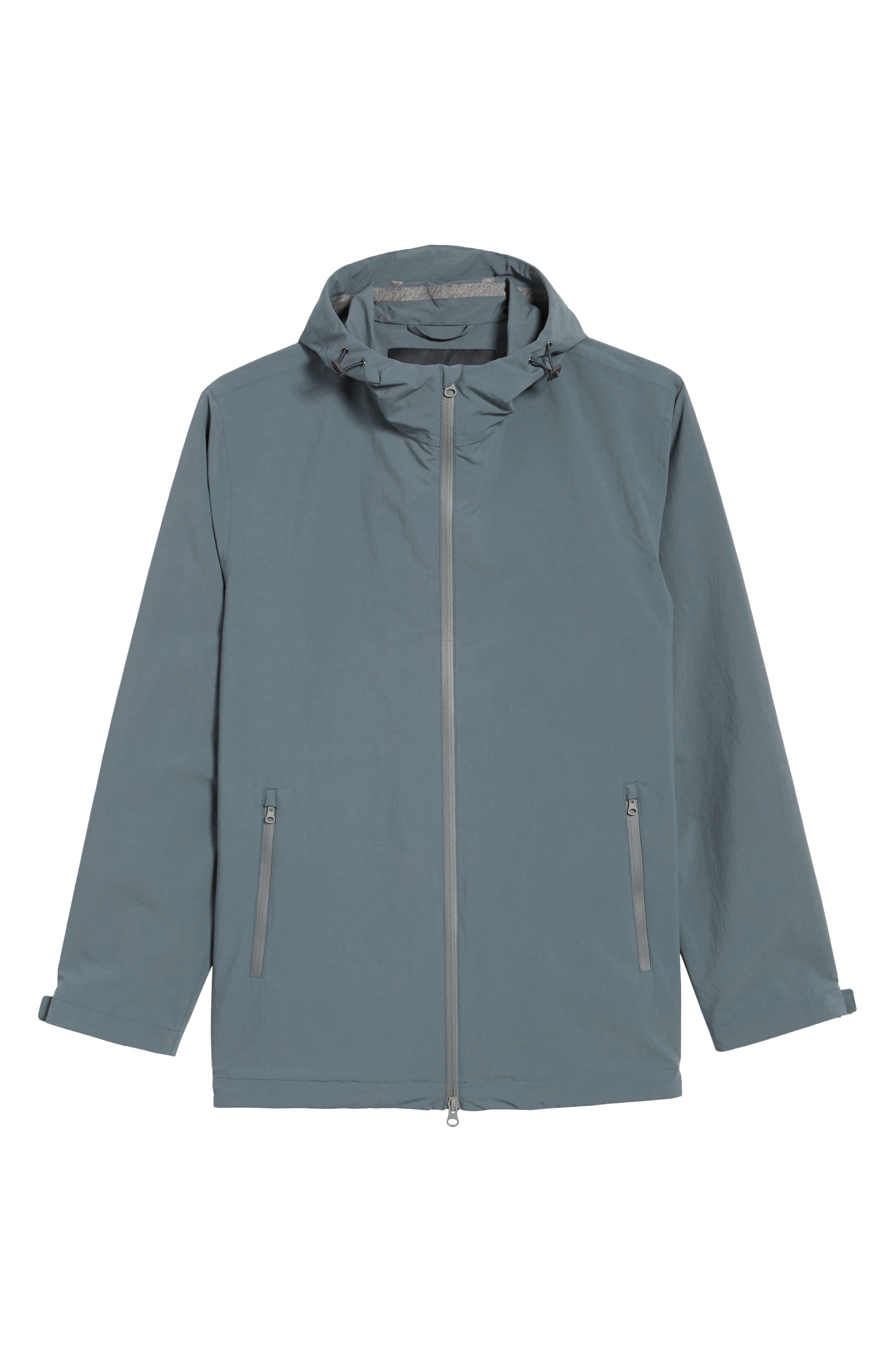 Plaster Hooded Raincoat,                             Alternate thumbnail 5, color,                             BLUE/ GREY