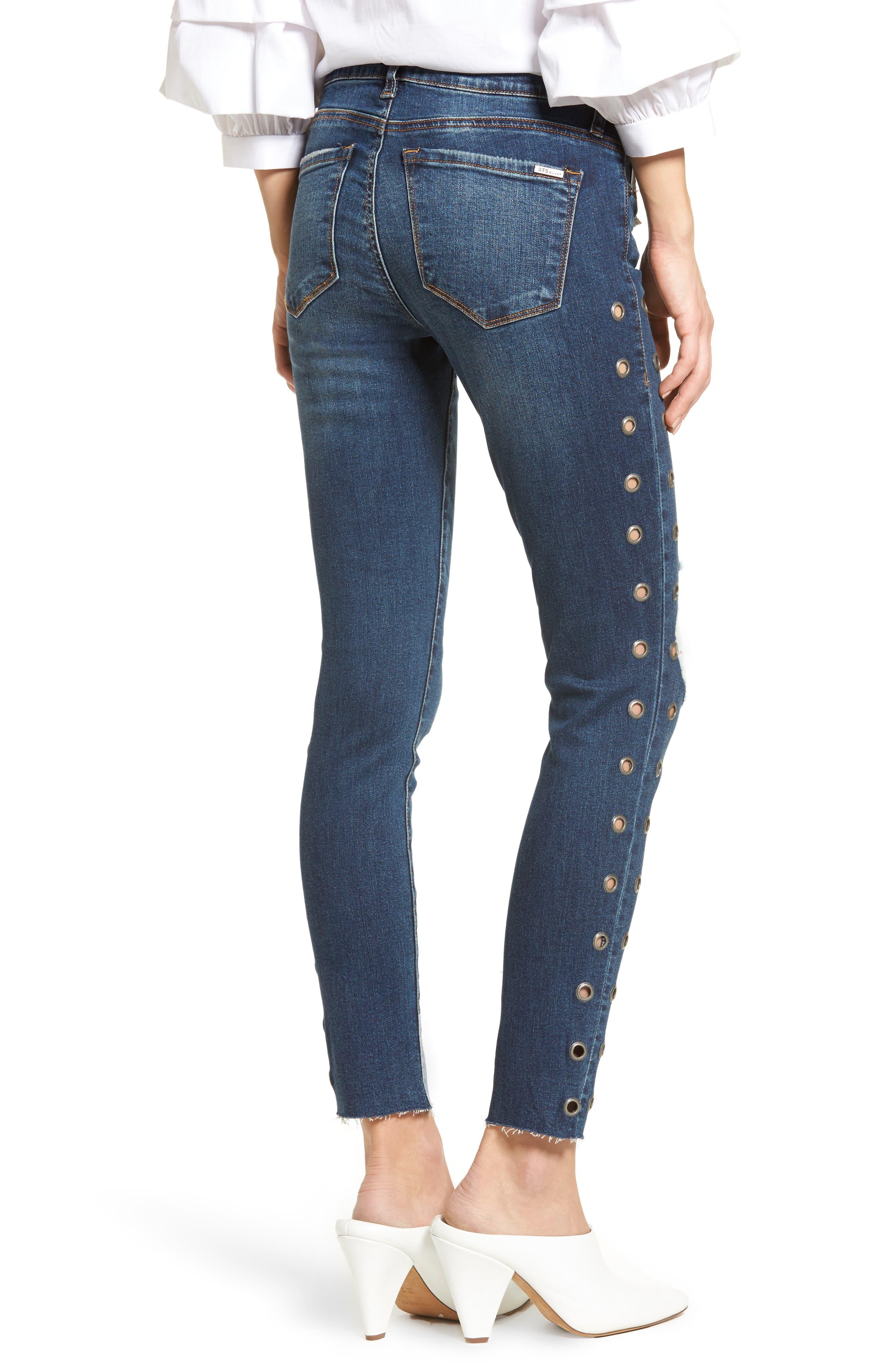 Piper Grommet Detail Skinny Jeans,                             Alternate thumbnail 2, color,