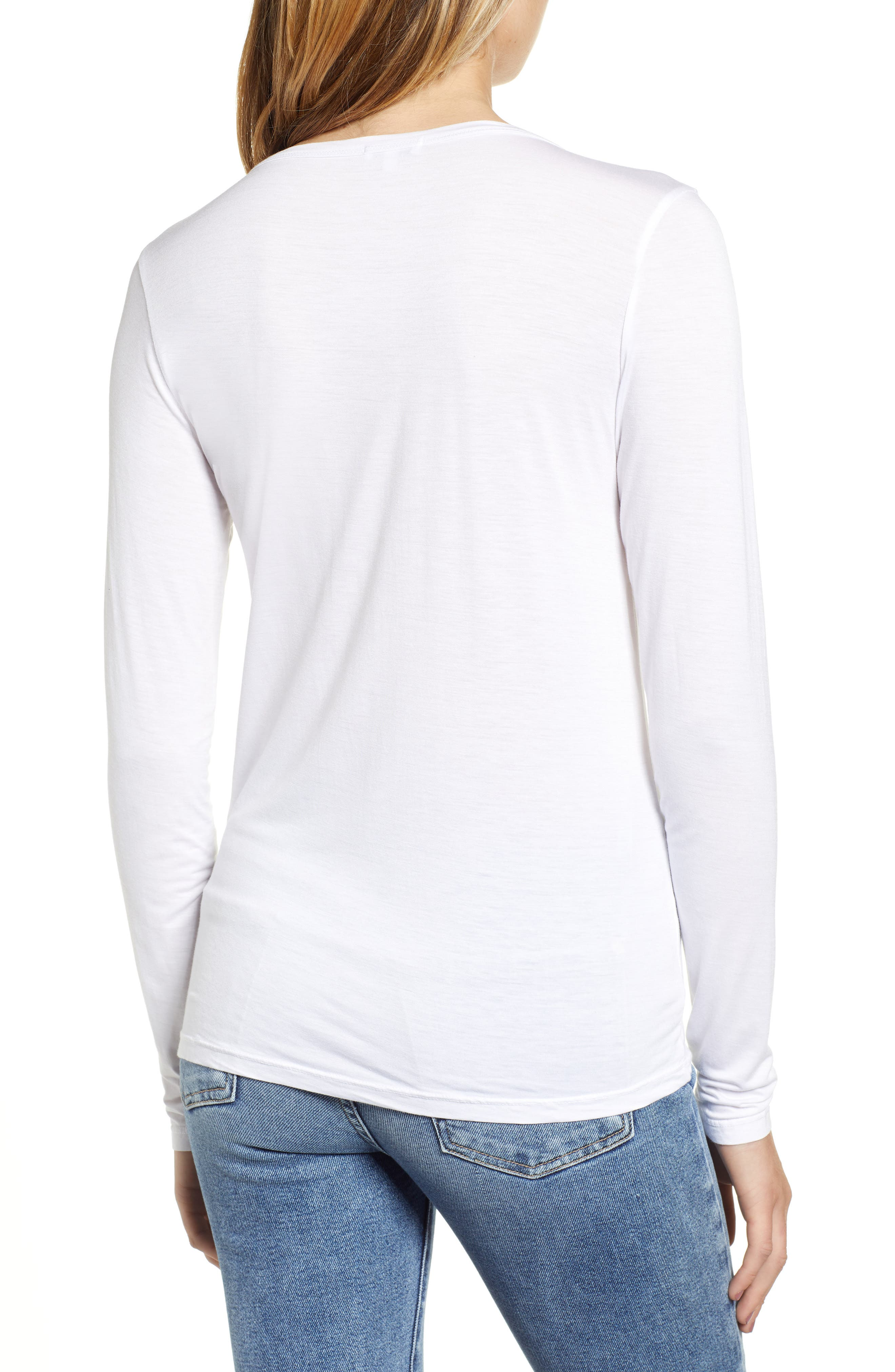 Scoop Neck Jersey Tee,                             Alternate thumbnail 2, color,                             WHITE