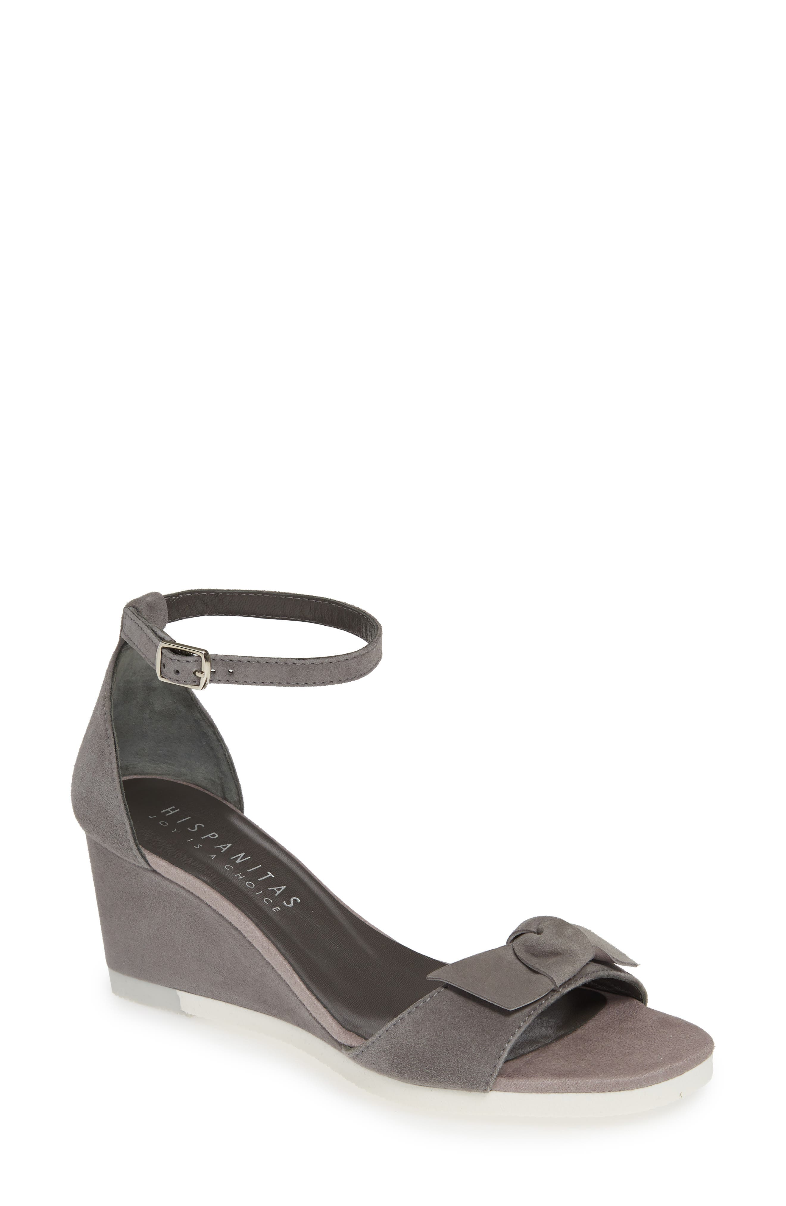 Carsten Wedge Sandal,                             Main thumbnail 1, color,                             ANTE CARBON SUEDE