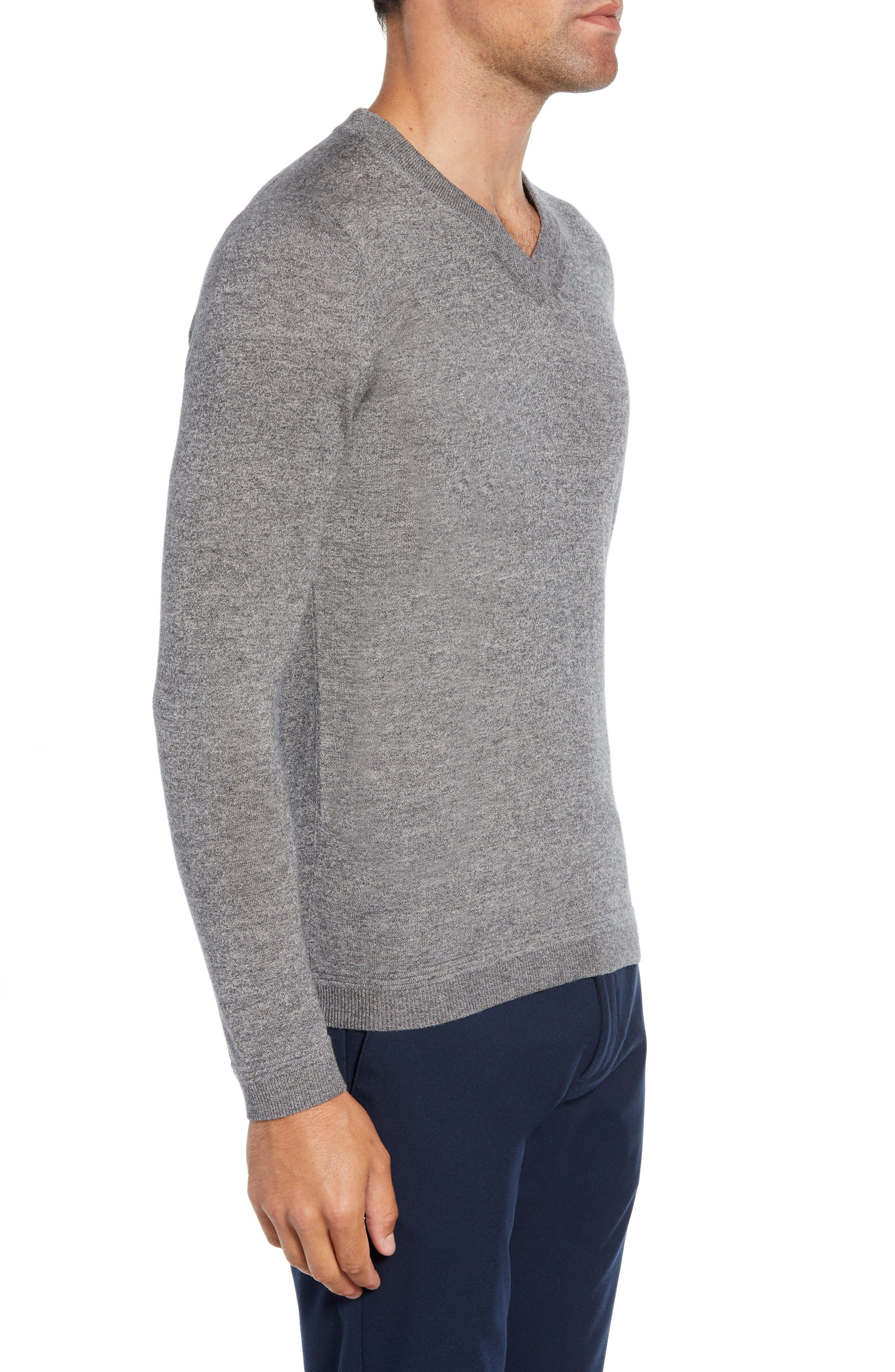 Noel Slim Fit V-Neck Wool Blend Sweater,                             Alternate thumbnail 3, color,                             GREY